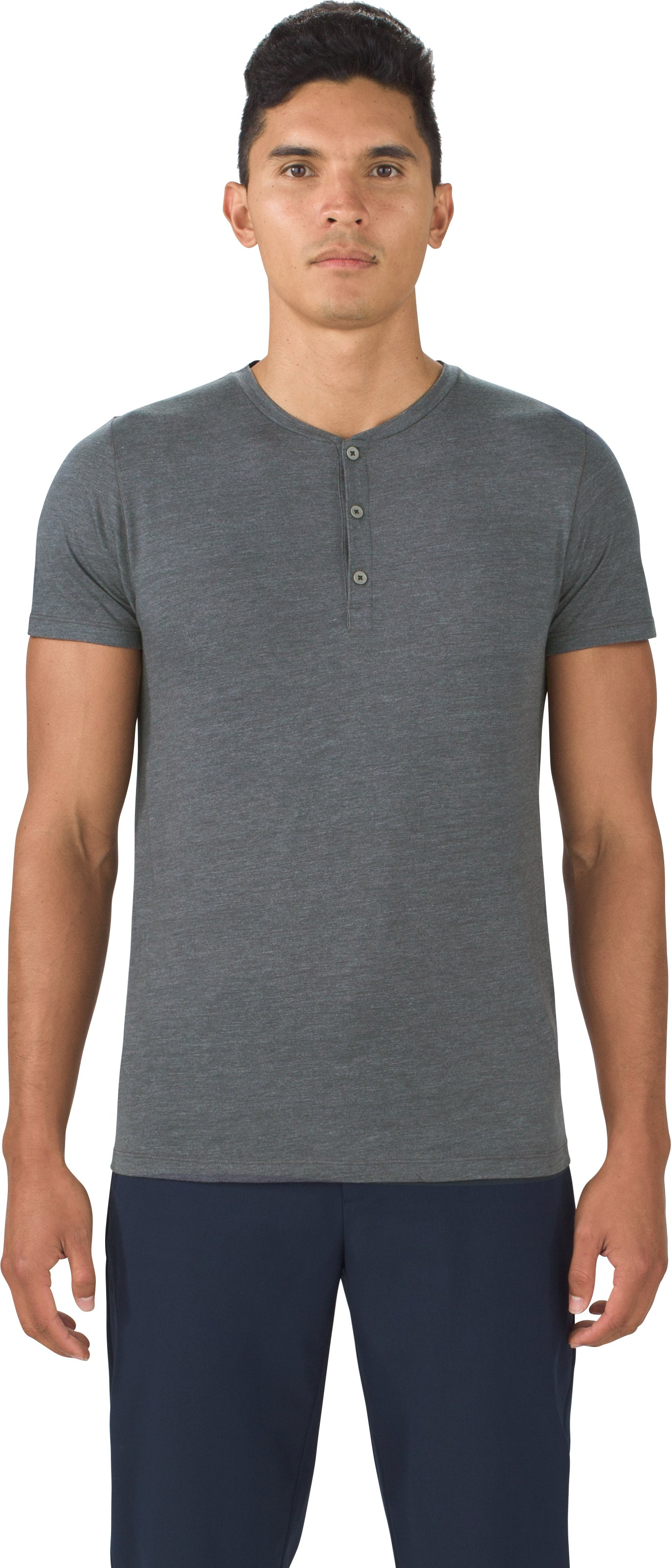 Men's UAS Prime Henley, DARK HEATHER GRAY