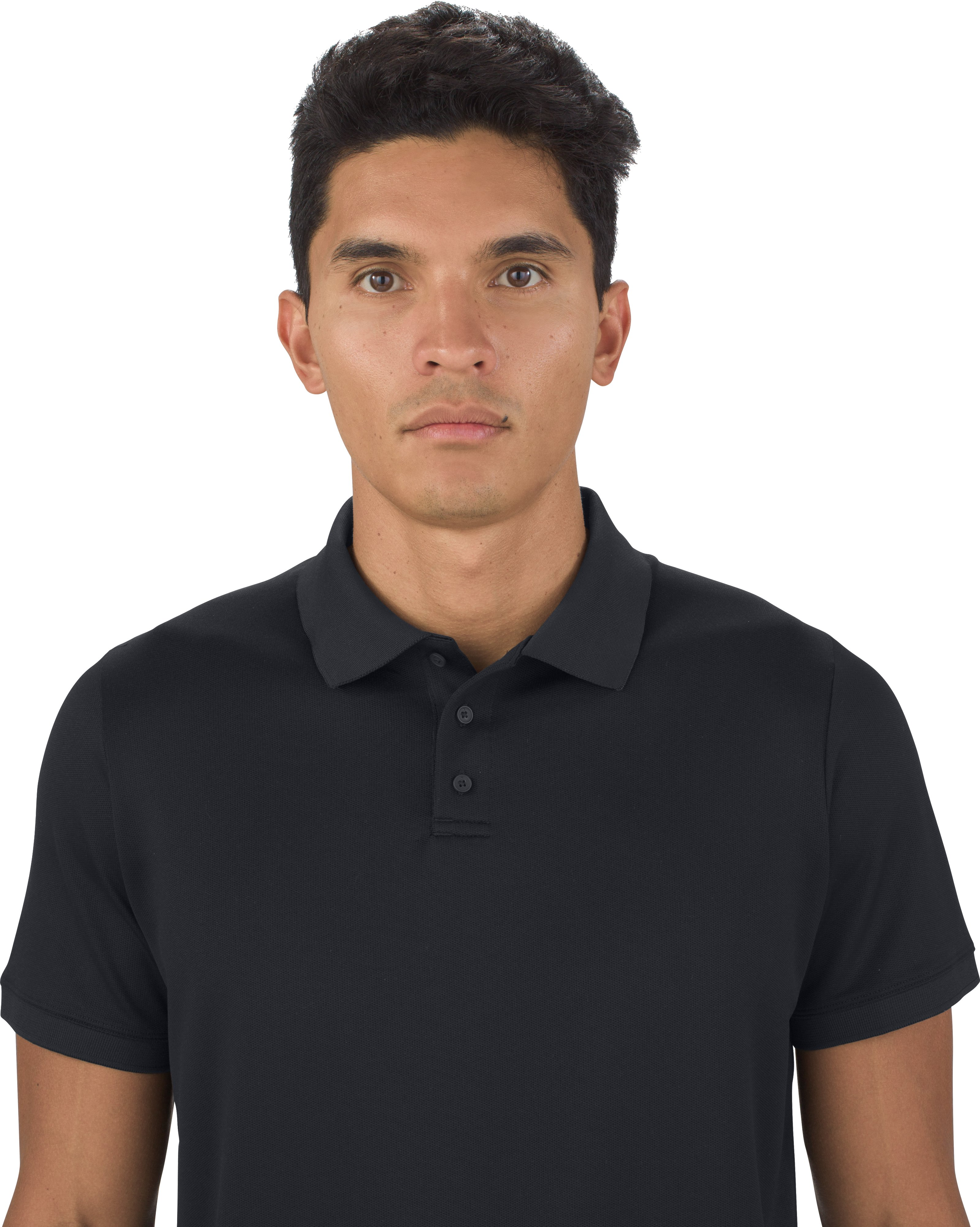 Men's UAS Pique Short Sleeve Polo, Black ,