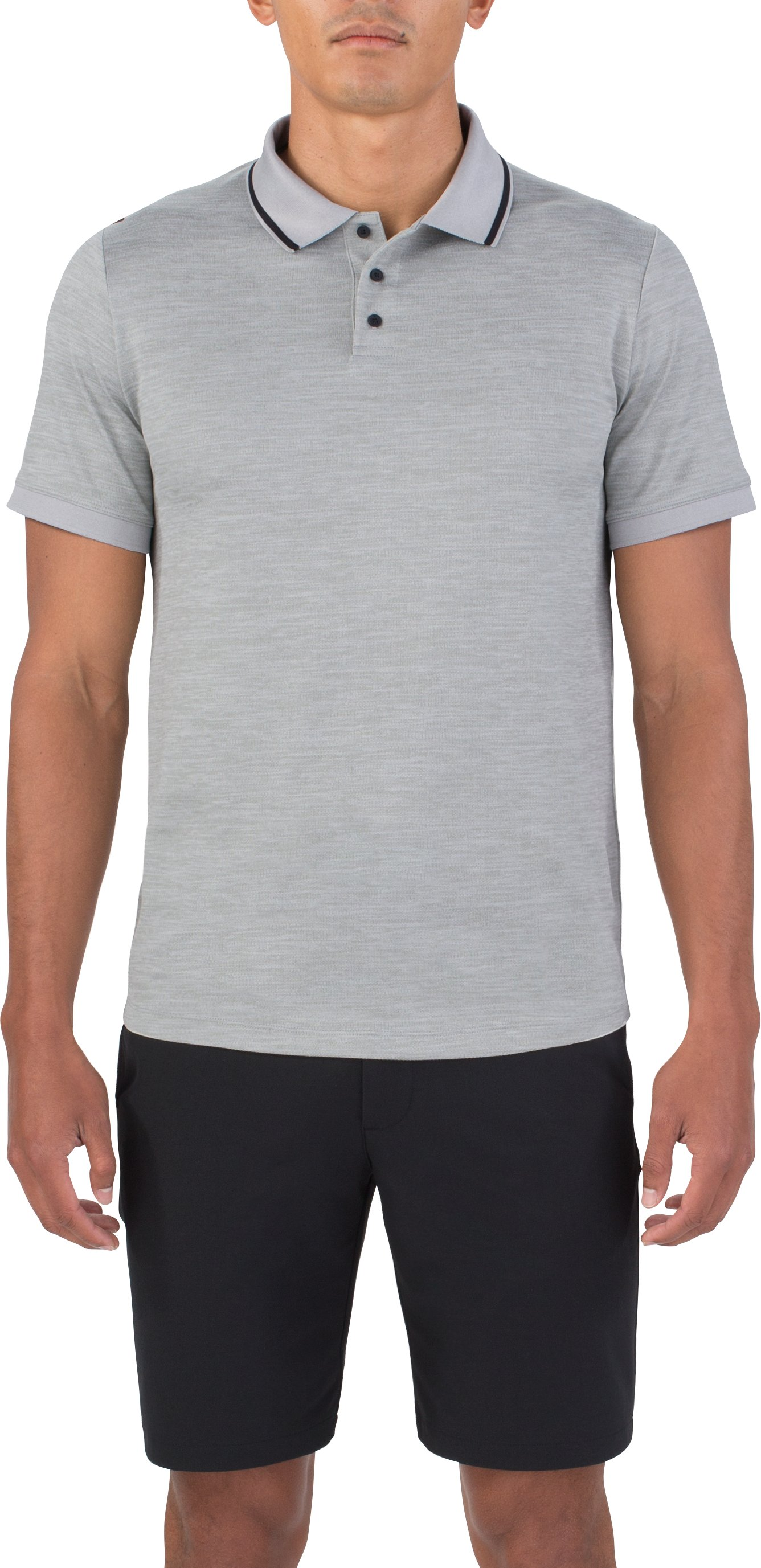 Men's UAS Pique Short Sleeve Polo, LIGHT HEATHER GRAY