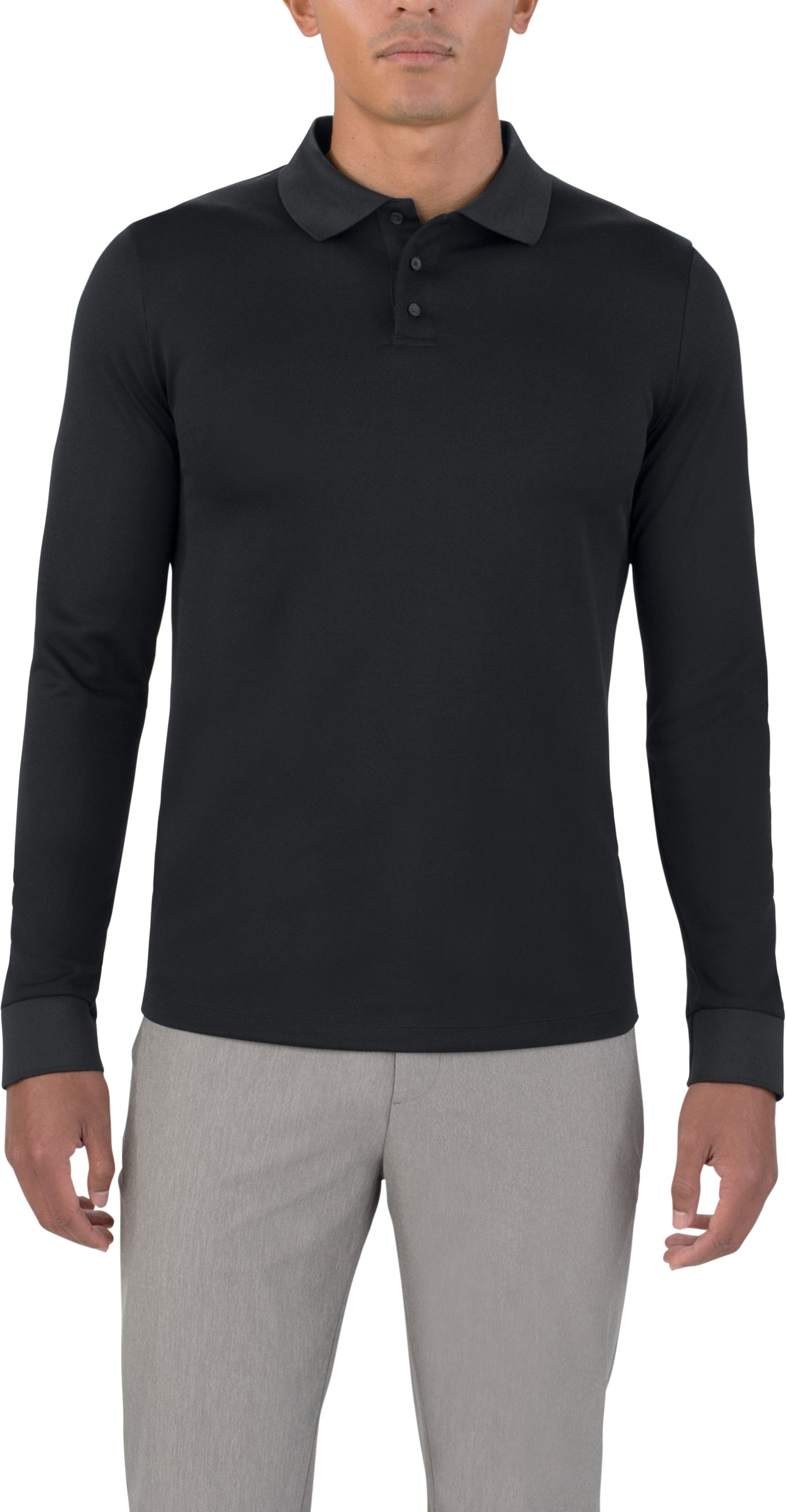 Men's UAS Pique Long Sleeve Polo, Black ,