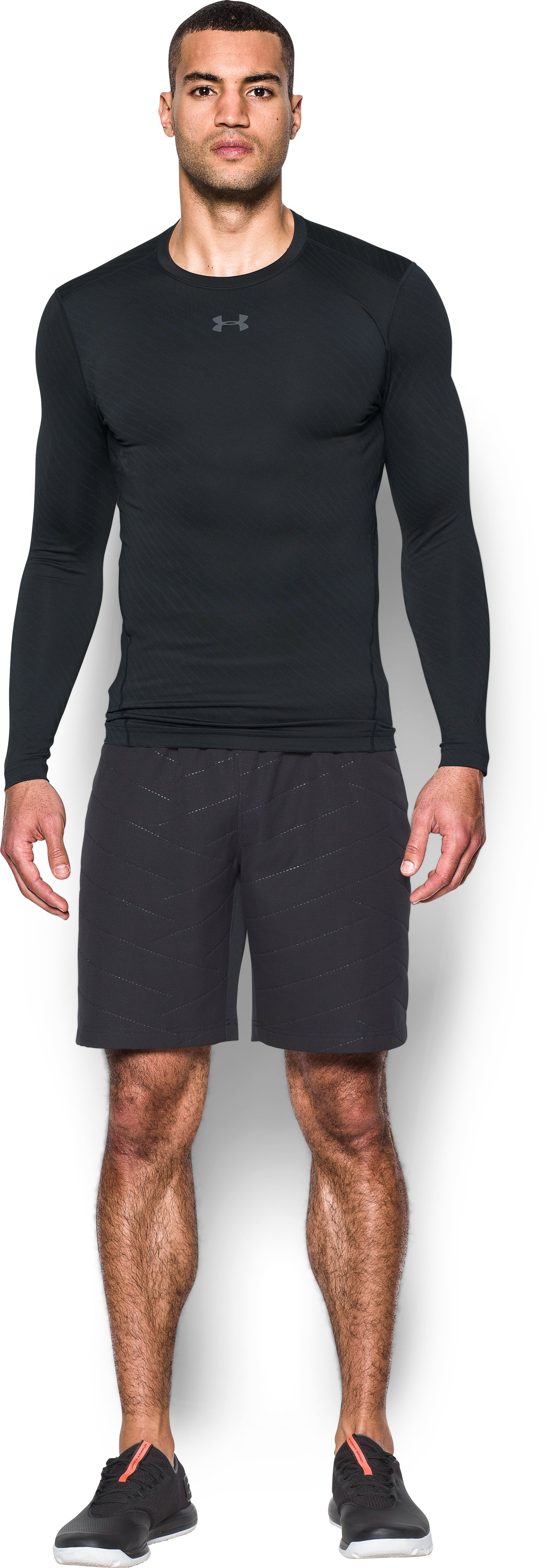 Men's UA ColdGear® Armour Jacquard Compression Crew, Black , Front