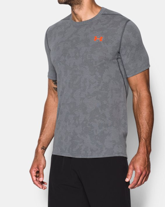 Men's UA Threadborne™ Elite Fitted Shorts Sleeve, Gray, pdpMainDesktop image number 1