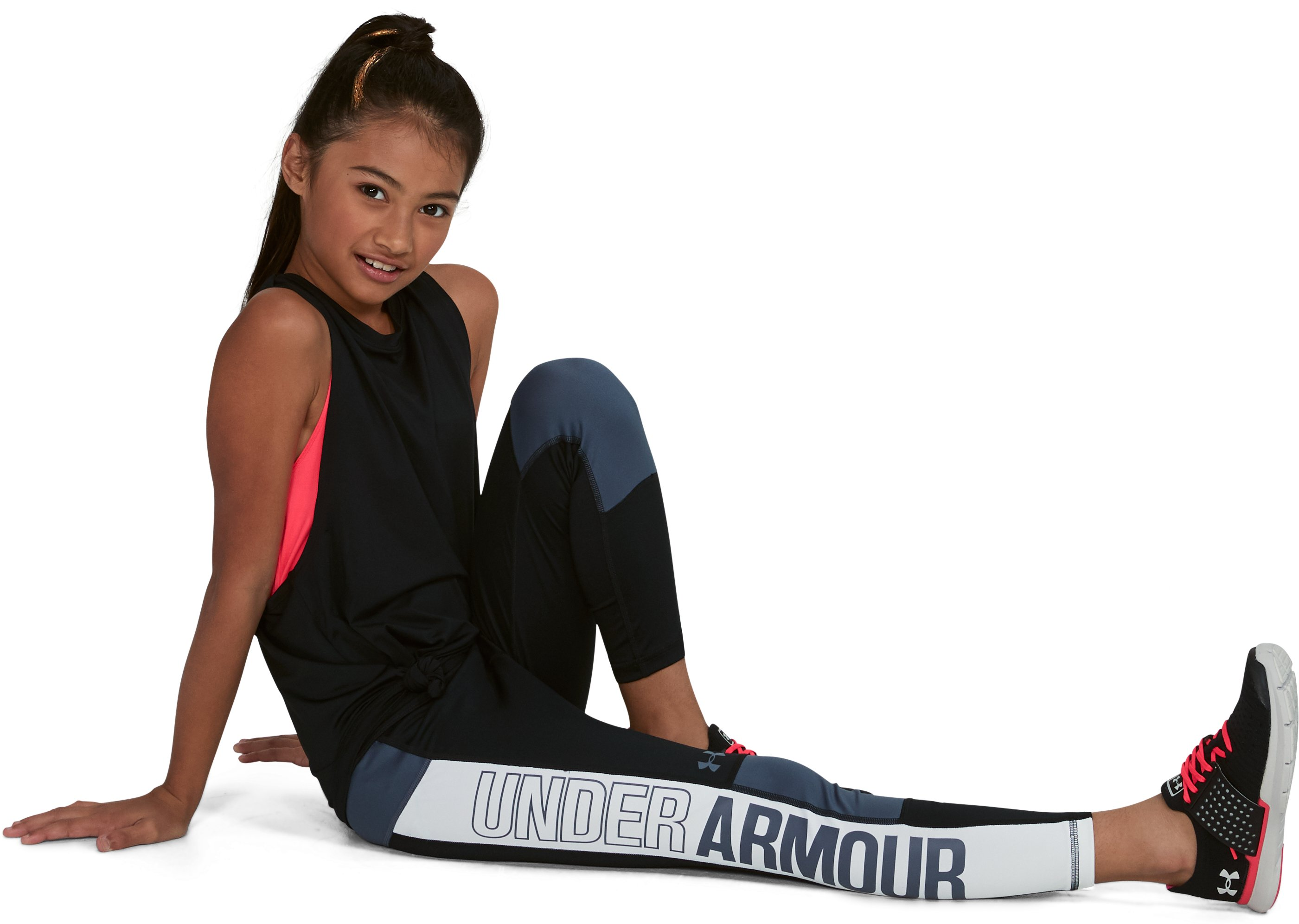Girls' UA Color Block Crop, Black , undefined