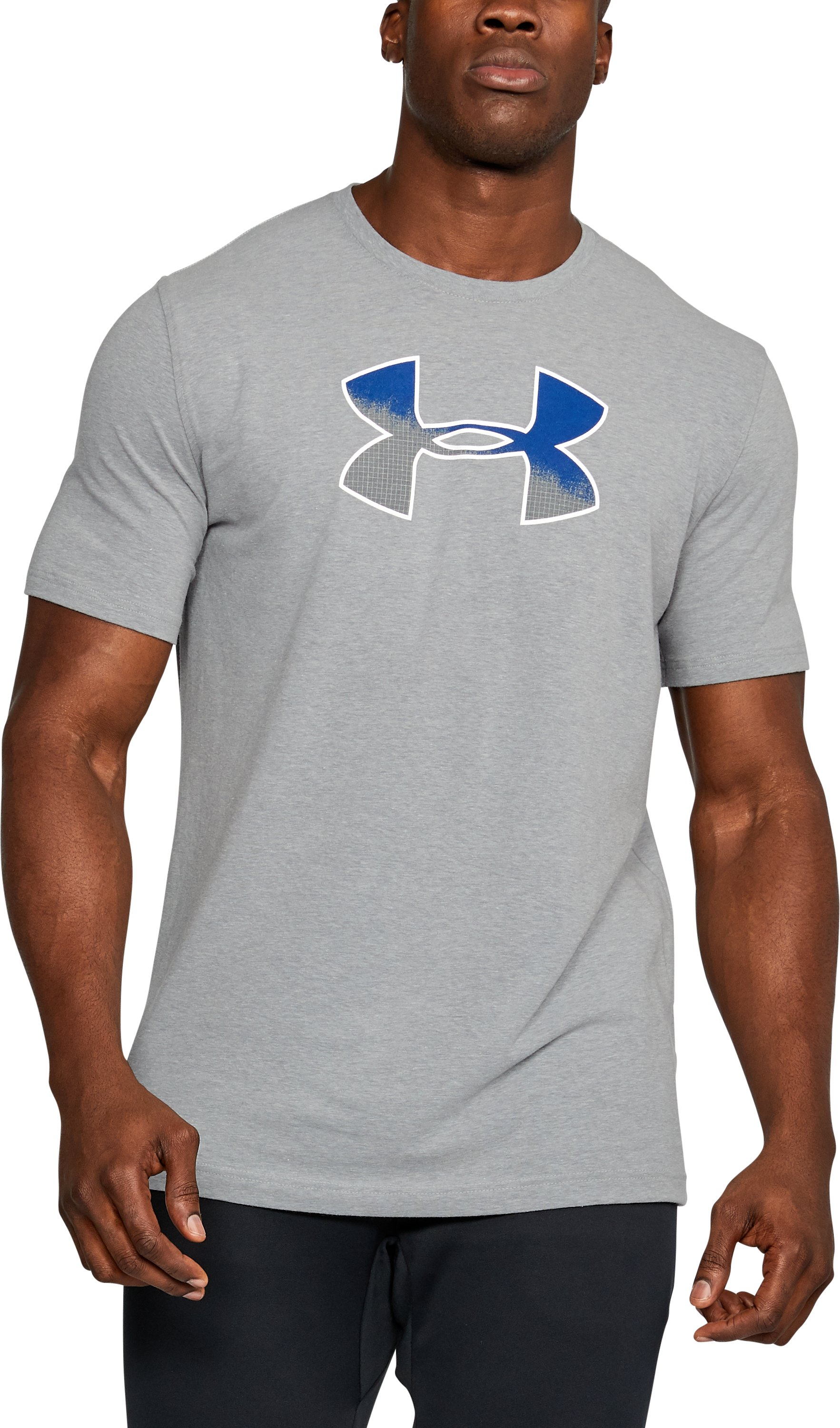 Men's UA Gradient Big Logo T-Shirt, STEEL LIGHT HEATHER