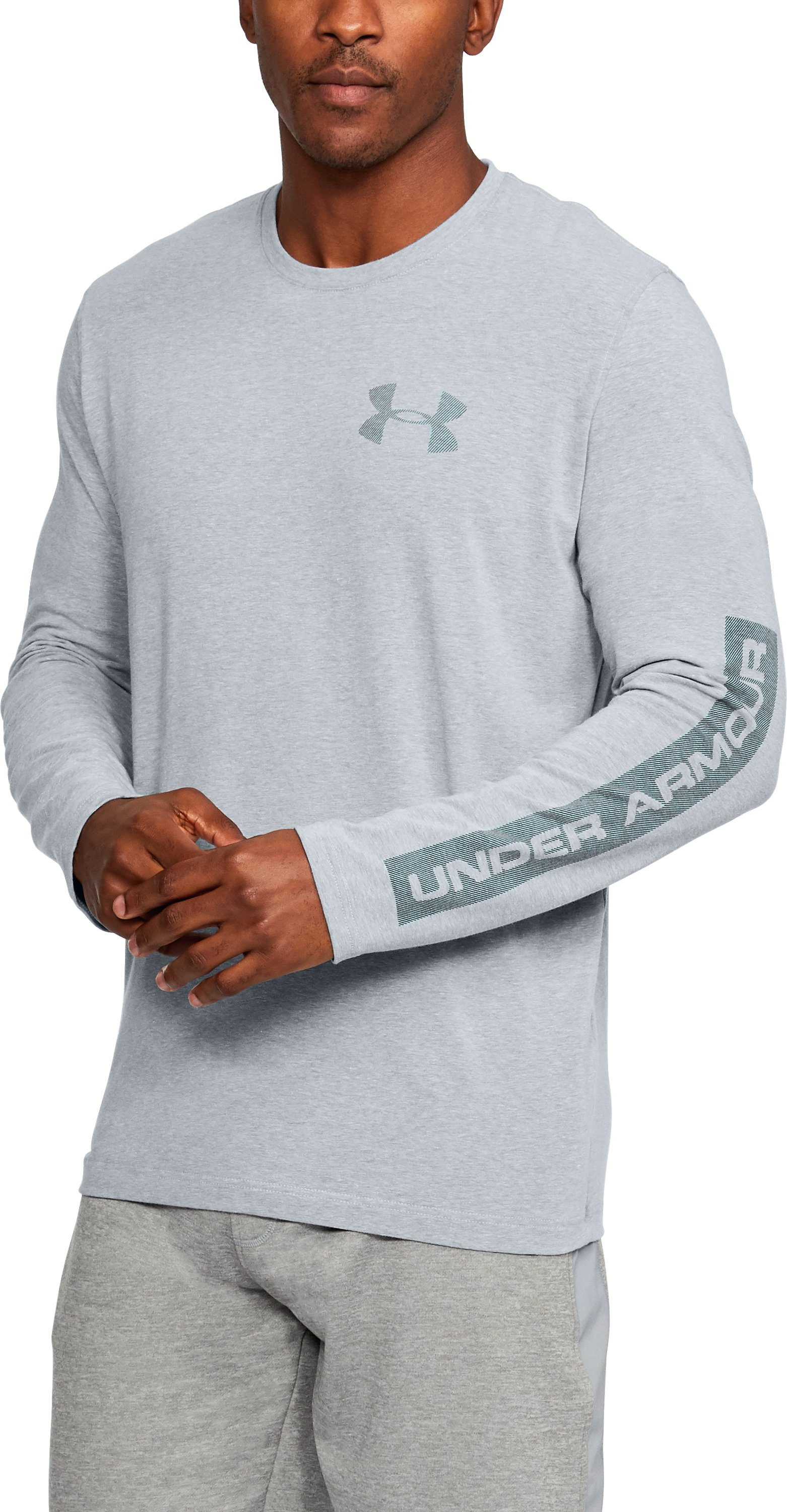 Men's UA Sleeve Hit Long Sleeve T-Shirt, STEEL LIGHT HEATHER, undefined