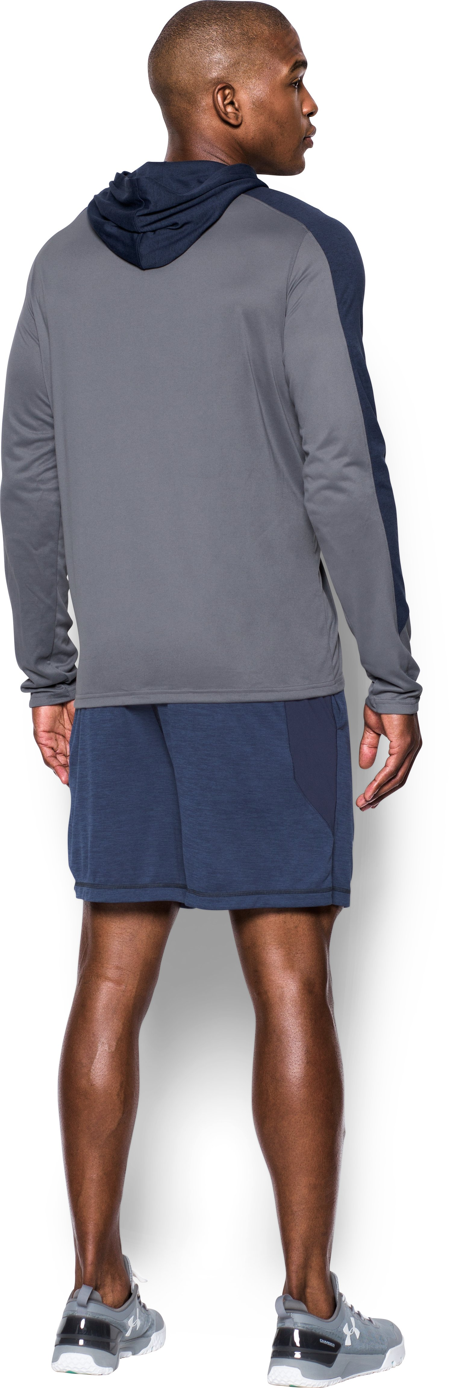 Men's Notre Dame UA Tech™ Hoodie, True Gray Heather, Back