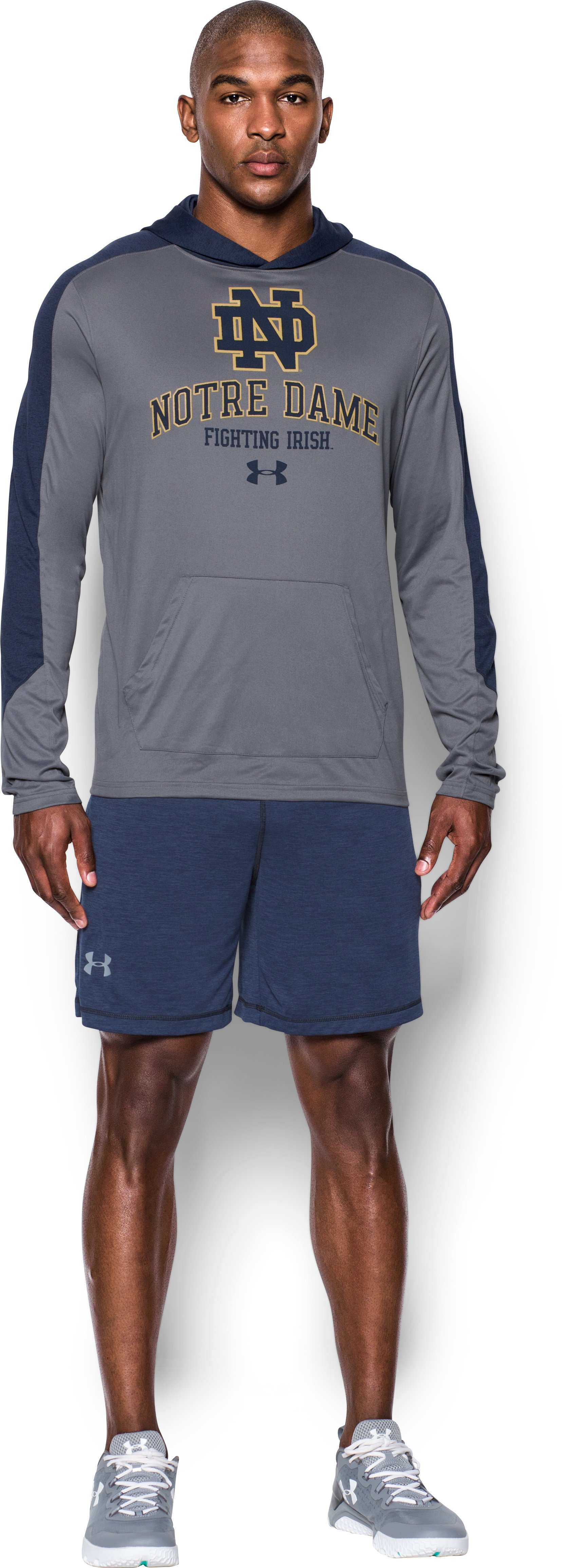 Men's Notre Dame UA Tech™ Hoodie, True Gray Heather, Front