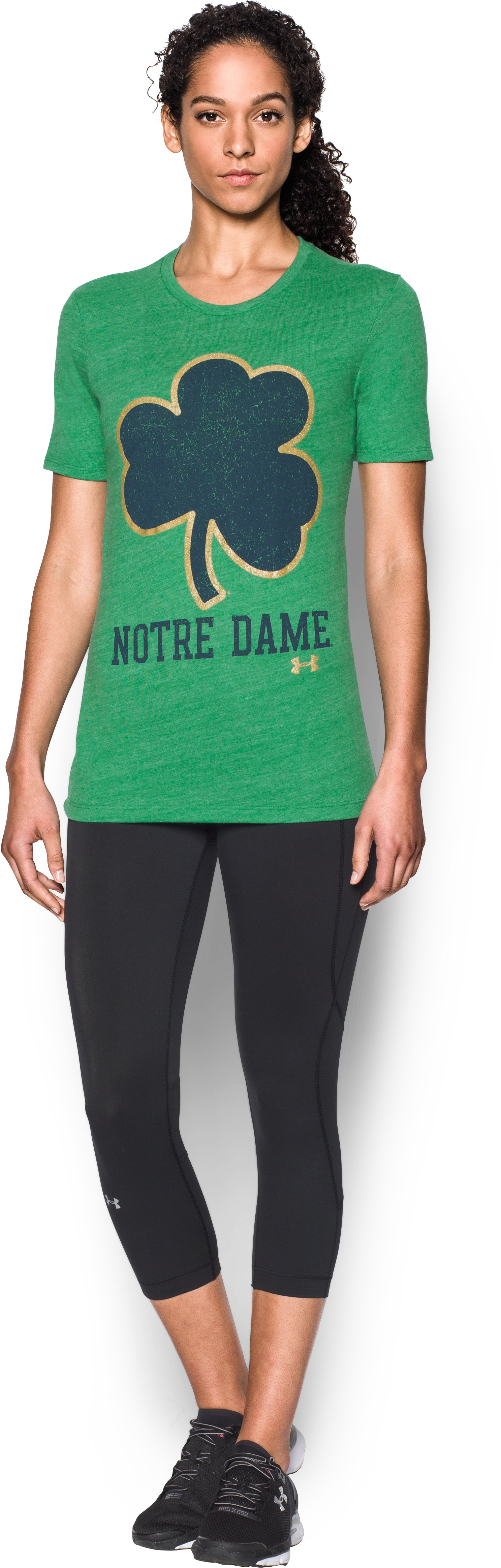 Women's Notre Dame UA Charged Cotton® Tri-Blend T-Shirt, Team Kelly Green, zoomed image