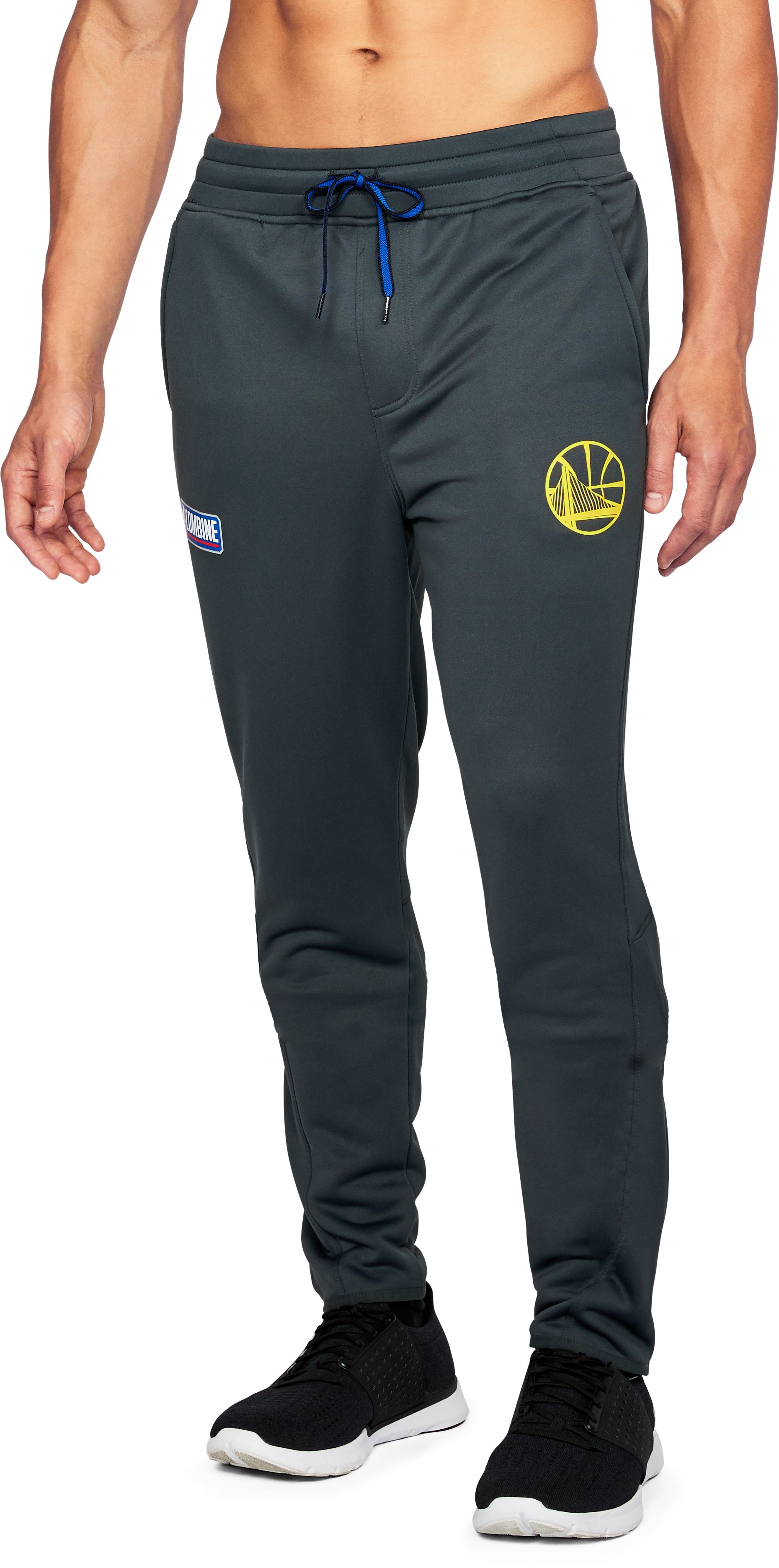 Men's NBA Combine UA Baseline Tapered Pants, NBA_GOLDEN STATE WARRIORS_STEALTH GRAY, zoomed