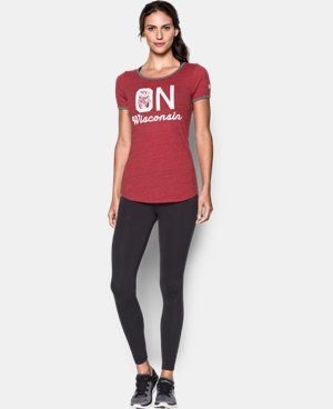 New Arrival Women's Wisconsin UA Ringer Crew Short Sleeve T-Shirt  1 Color $39.99