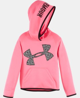 New Arrival Girls' Pre-School UA Jumbo Chain Grid Logo Hoodie LIMITED TIME OFFER + FREE U.S. SHIPPING 2 Colors $39.99