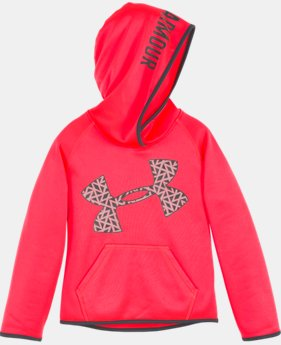 New Arrival Girls' Pre-School UA Jumbo Chain Grid Logo Hoodie LIMITED TIME OFFER + FREE U.S. SHIPPING  $39.99