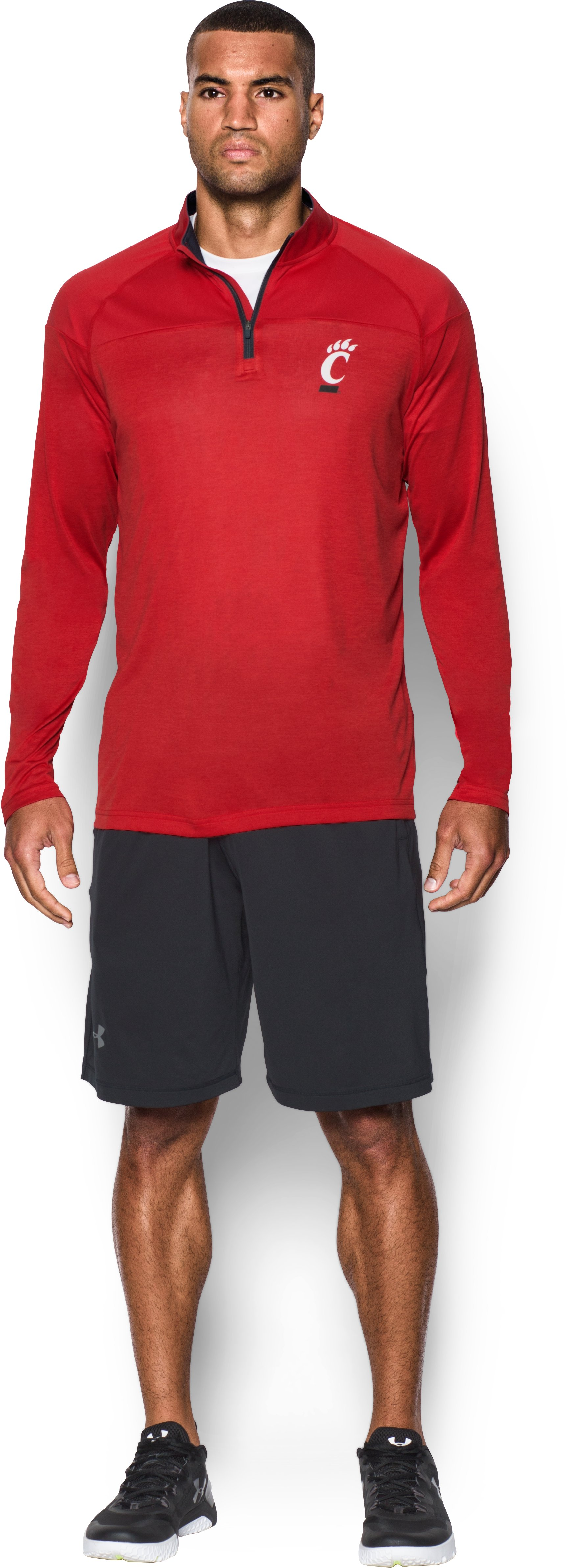 Men's Cincinnati UA Tech™ Printed ¼ Zip, Red, Front