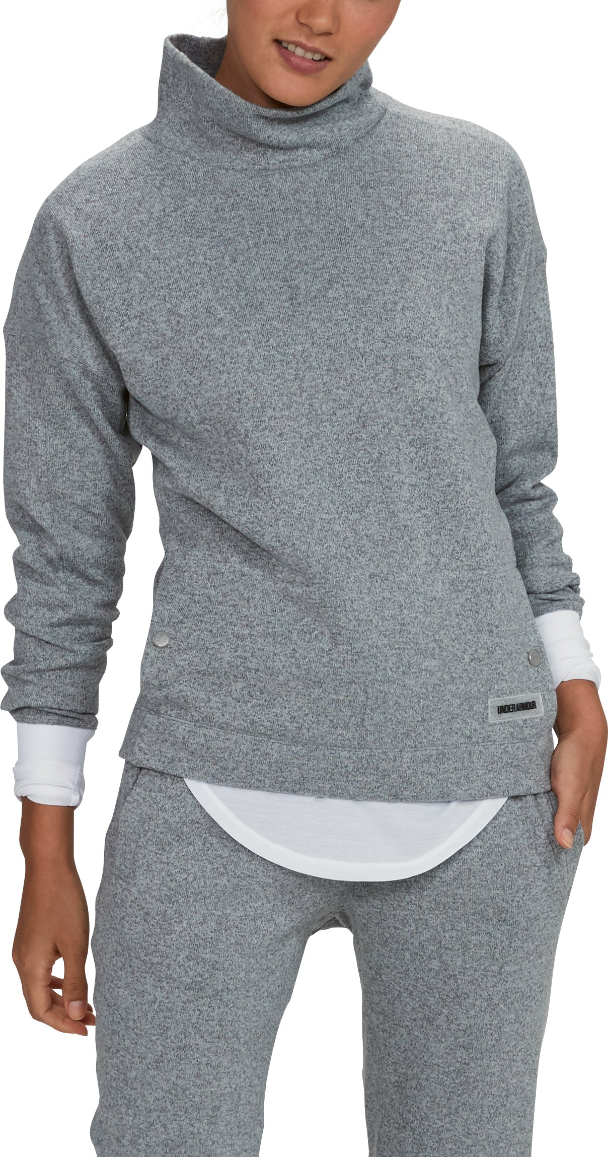 Women's UA SweaterFleece Funnel Neck, True Gray Heather