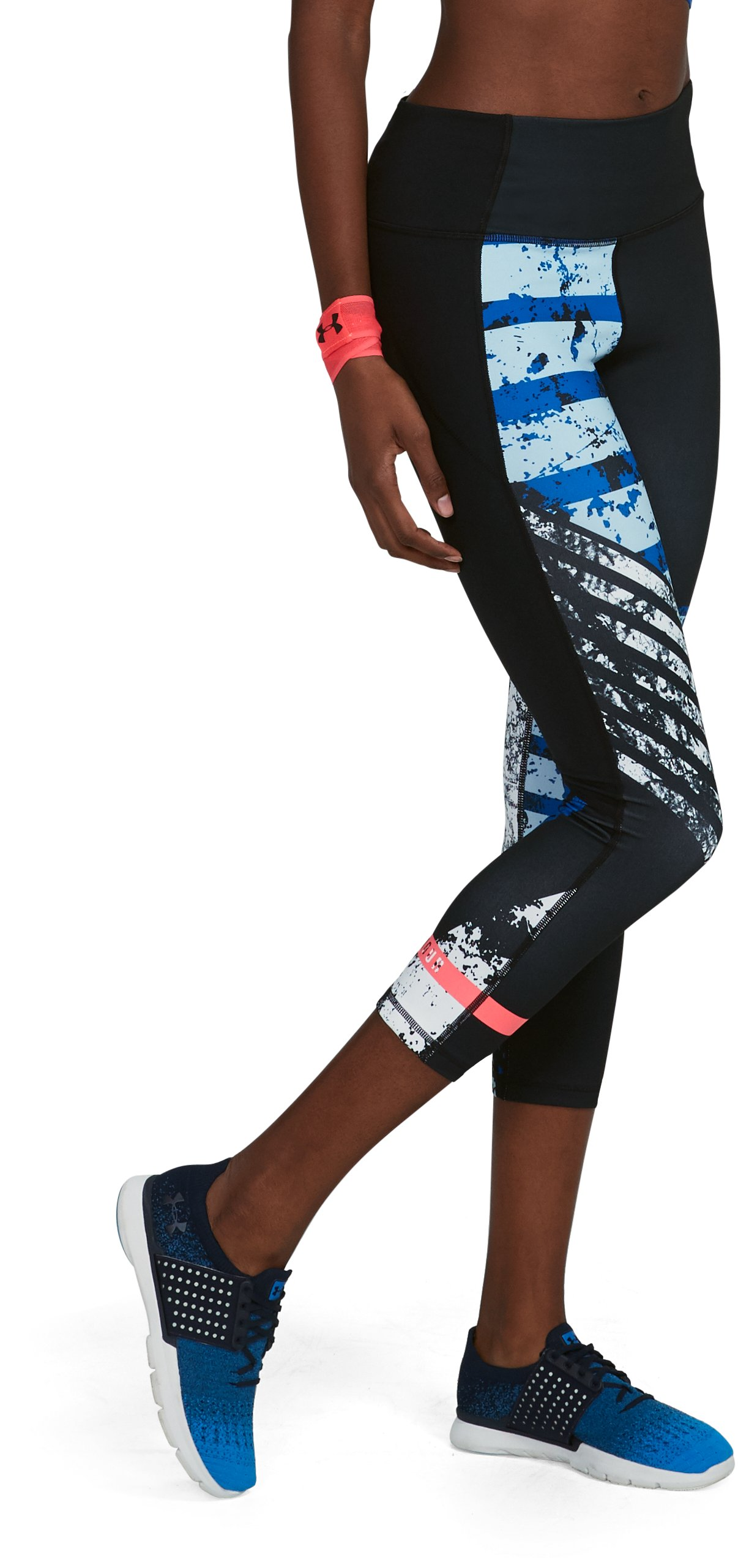 Women's UA Mirror Hi-Rise Printed Crop, Black ,