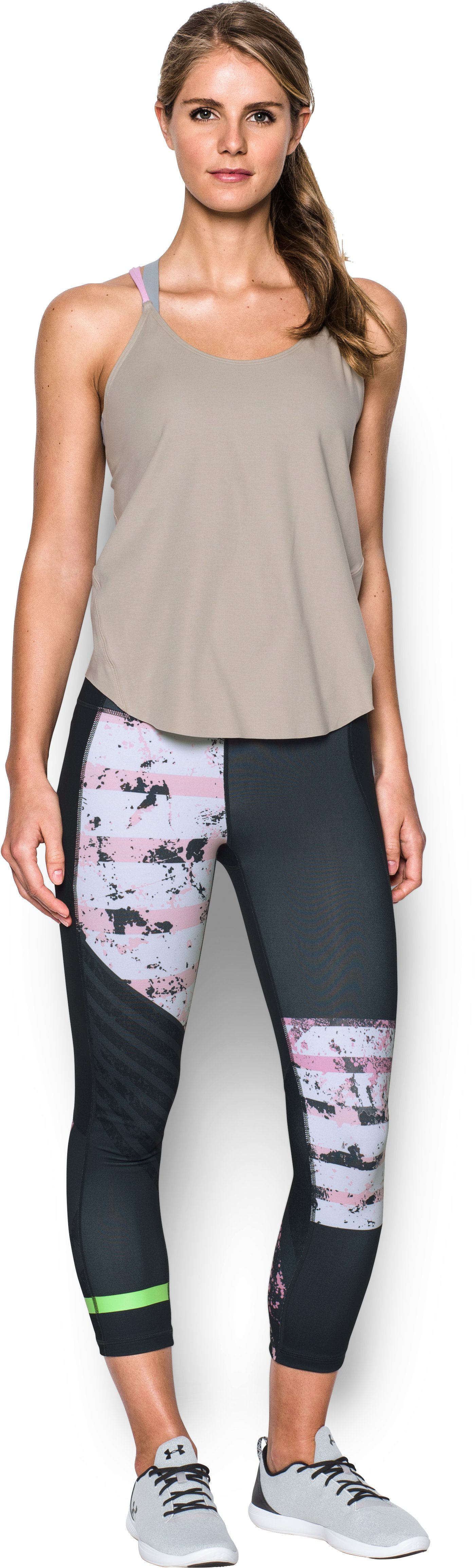 Women's UA Mirror Hi-Rise Printed Crop, ANTHRACITE, Front