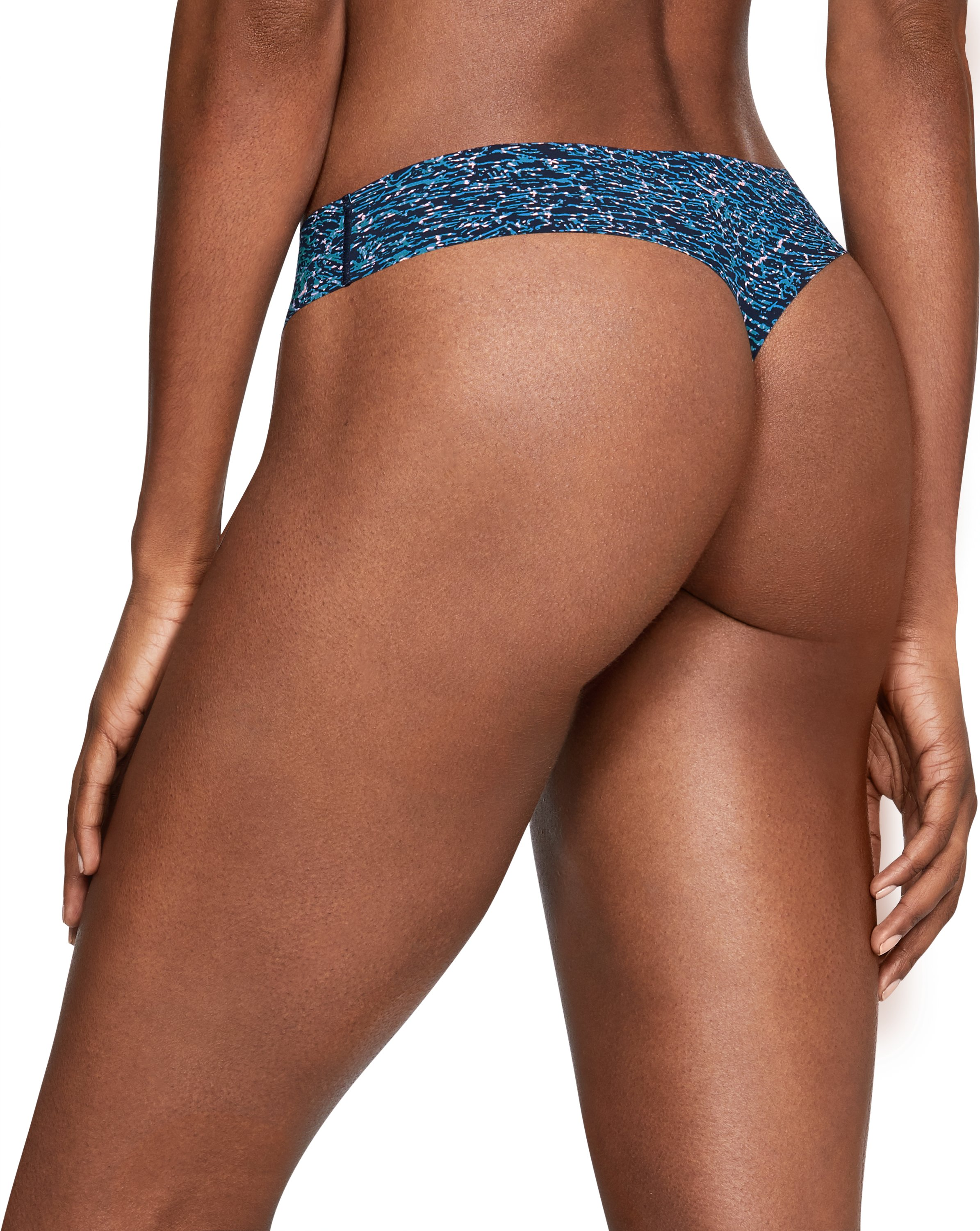 Women's UA Pure Stretch Printed Thong, Midnight Navy