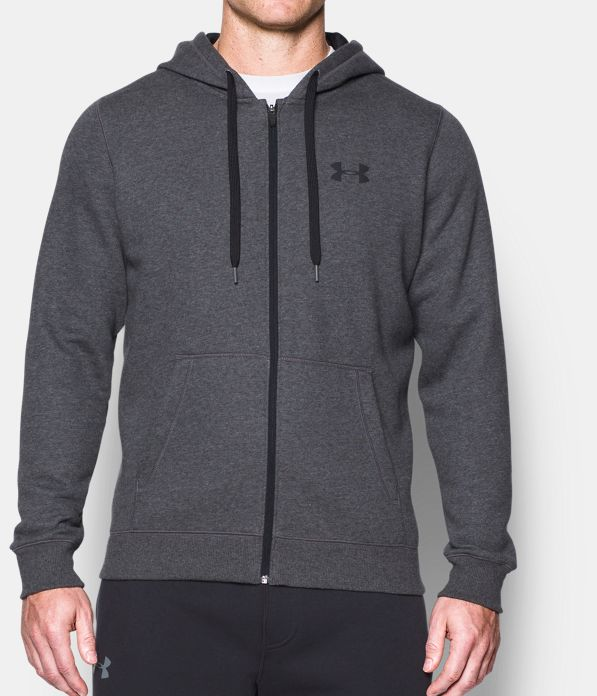 Under Armour Rival Fitted Pullover Hoody New Carbon Heather Black