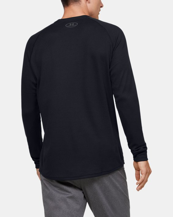 Men's UA Waffle Crew Long Sleeve, Black, pdpMainDesktop image number 2