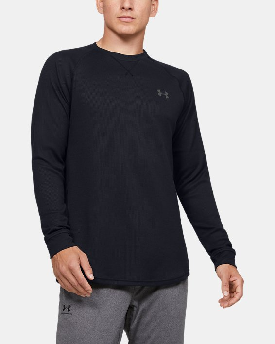 Men's UA Waffle Crew Long Sleeve, Black, pdpMainDesktop image number 0