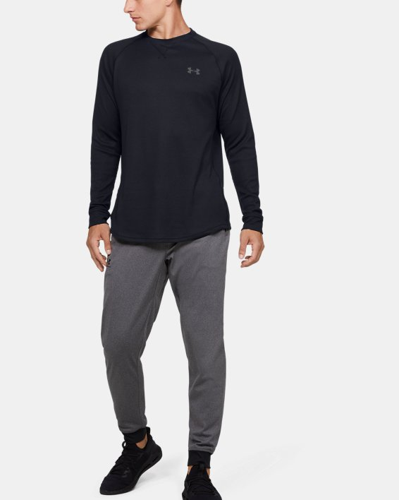 Men's UA Waffle Crew Long Sleeve, Black, pdpMainDesktop image number 1