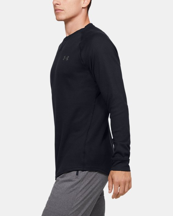 Men's UA Waffle Crew Long Sleeve, Black, pdpMainDesktop image number 3