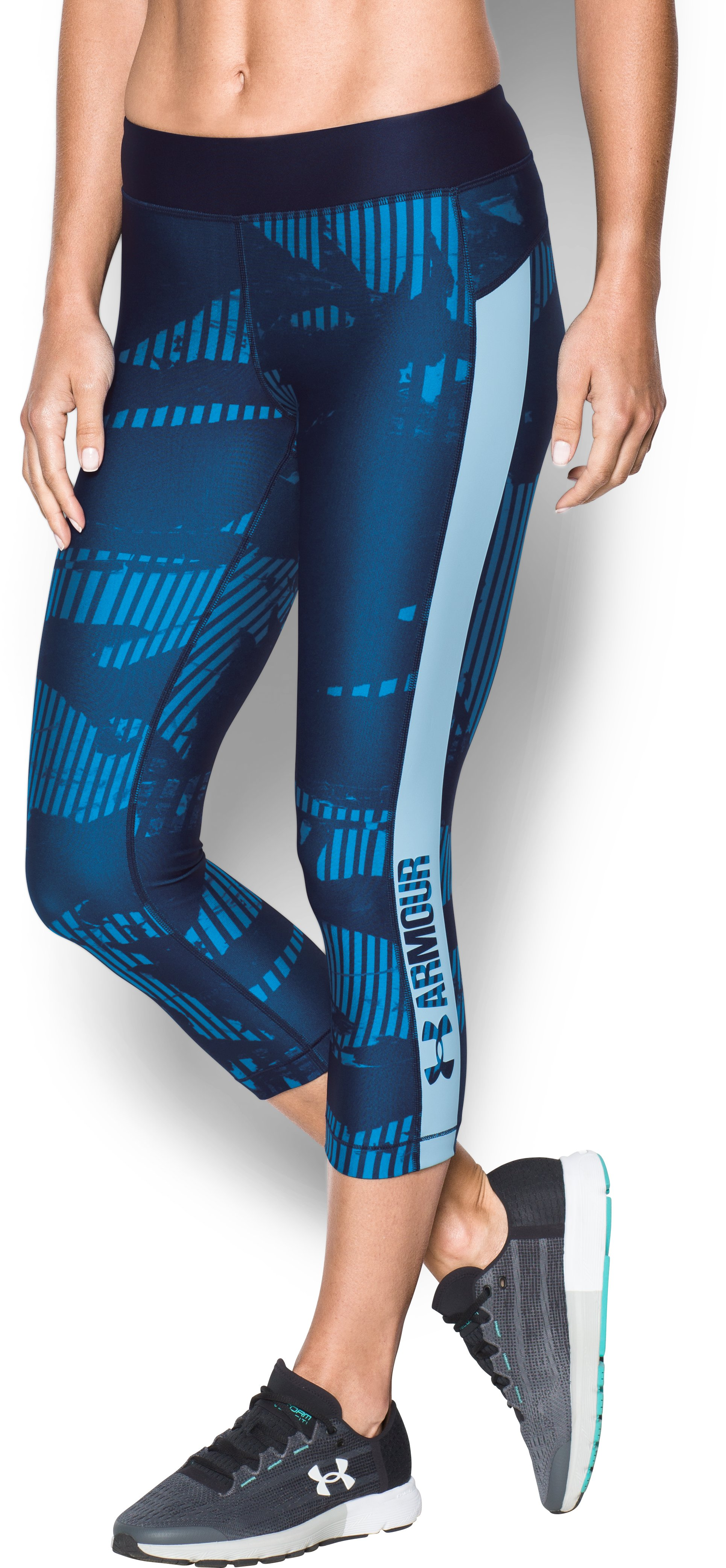 Women's HeatGear® Armour Printed Graphic Capris, Midnight Navy