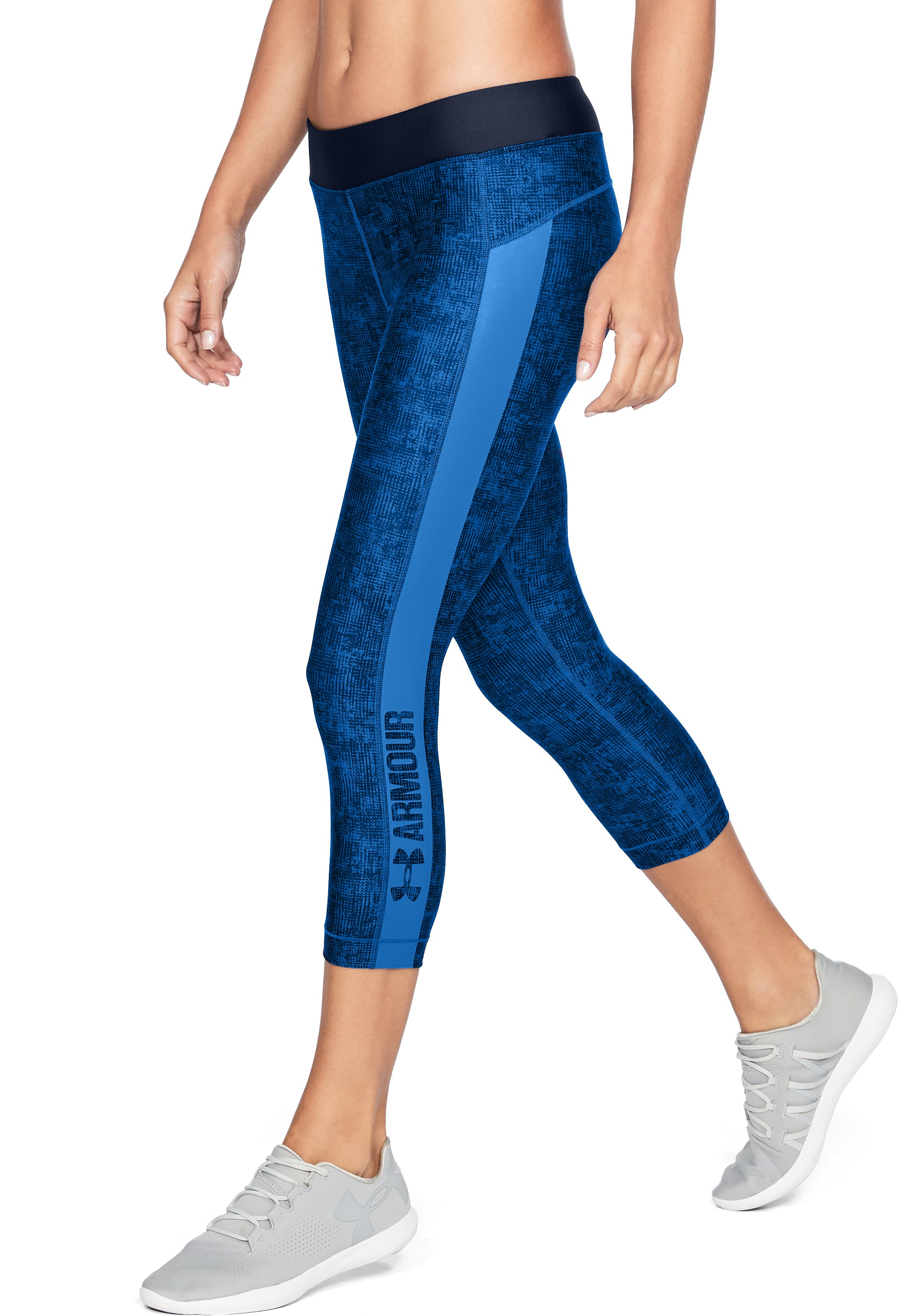 Women's HeatGear® Armour Printed Graphic Capris, LAPIS BLUE, undefined