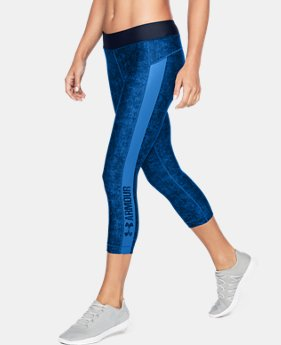 New to Outlet Women's HeatGear® Armour Printed Graphic Capris  2 Colors $33.74