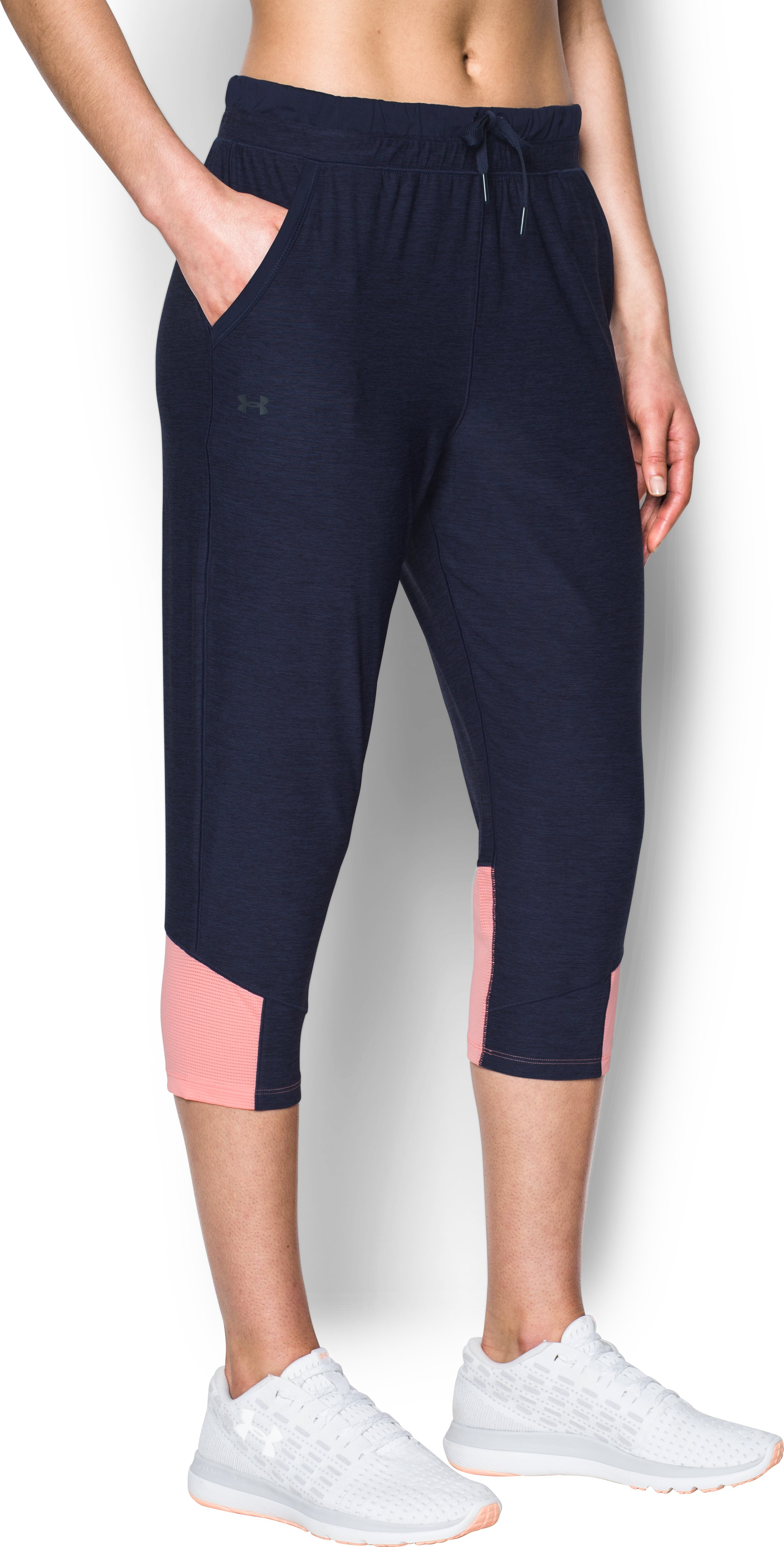 Women's UA Armour Sport Twist Crop, Midnight Navy, undefined