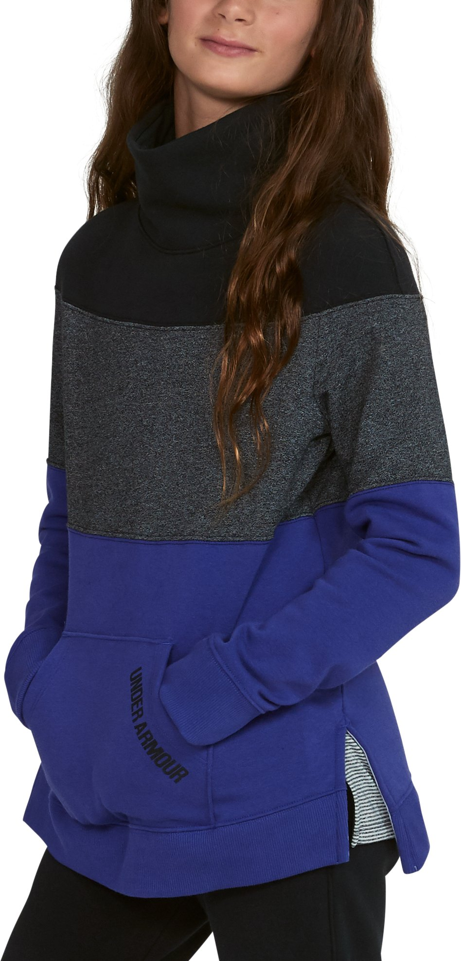 Girls' UA Threadborne™ Fleece Slouchy Crew, CONSTELLATION PURPLE, undefined