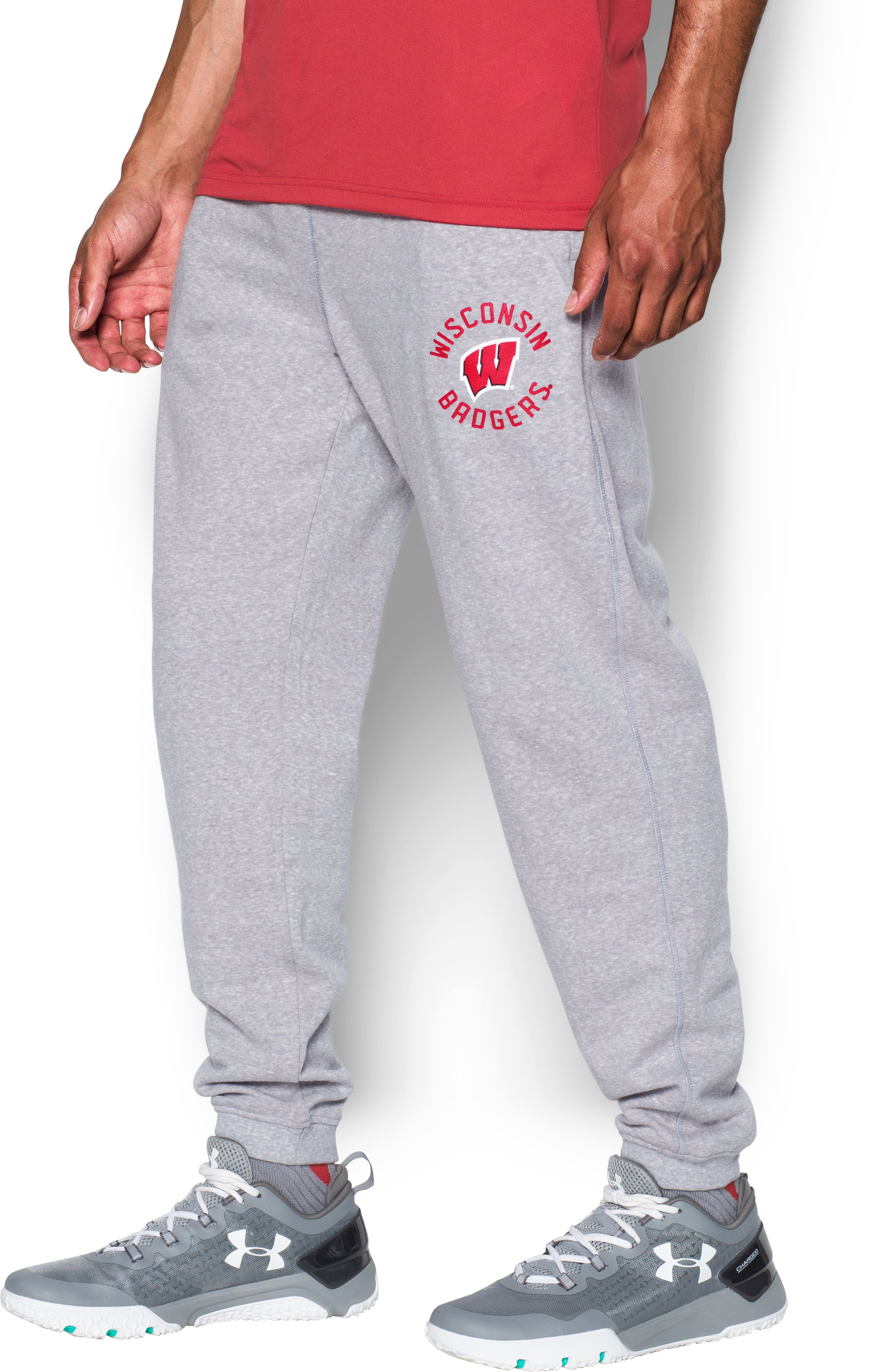 Men's Wisconsin UA Tri-Blend Joggers, True Gray Heather, zoomed image