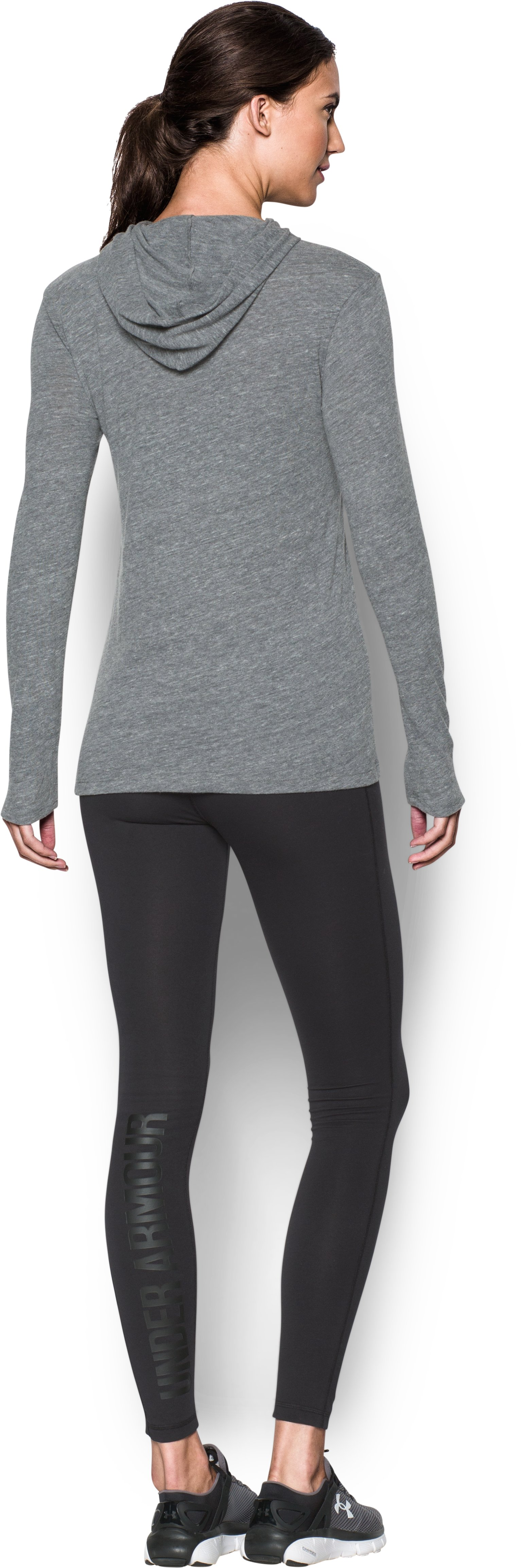 Women's Navy UA Charged Cotton® Tri-Blend Hoodie, LEGACY GRAY HEATHER, Back
