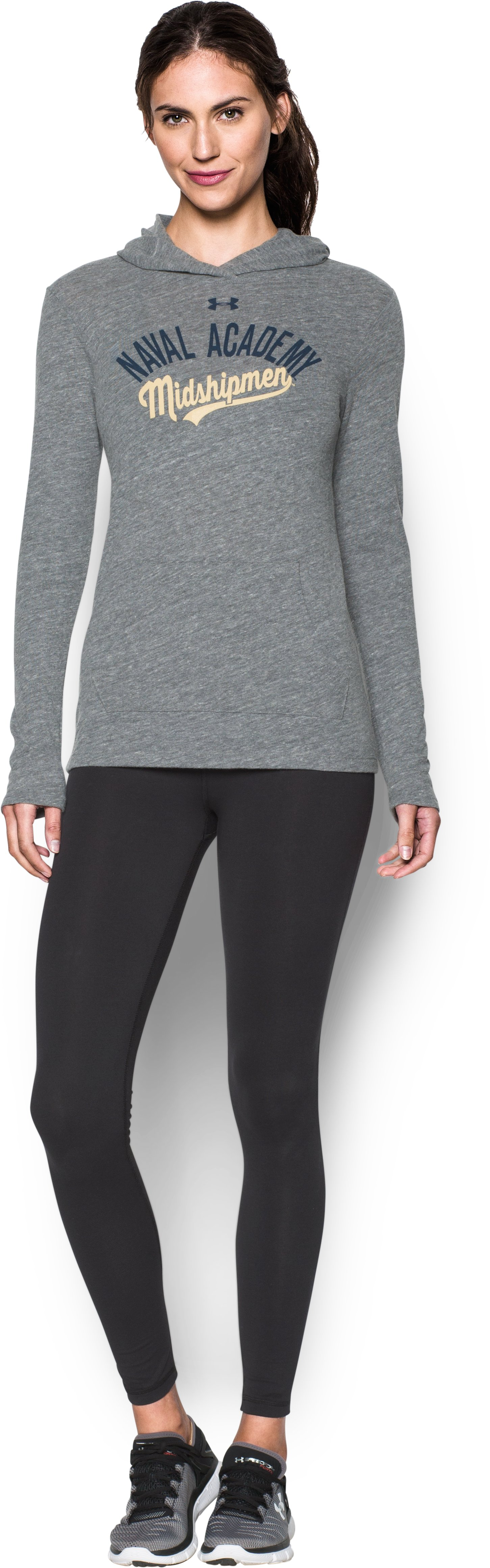 Women's Navy UA Charged Cotton® Tri-Blend Hoodie, LEGACY GRAY HEATHER, Front