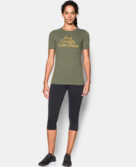 New Arrival Women's Notre Dame God's Country UA Charged Cotton® Tri-Blend T-Shirt  1 Color $35.99