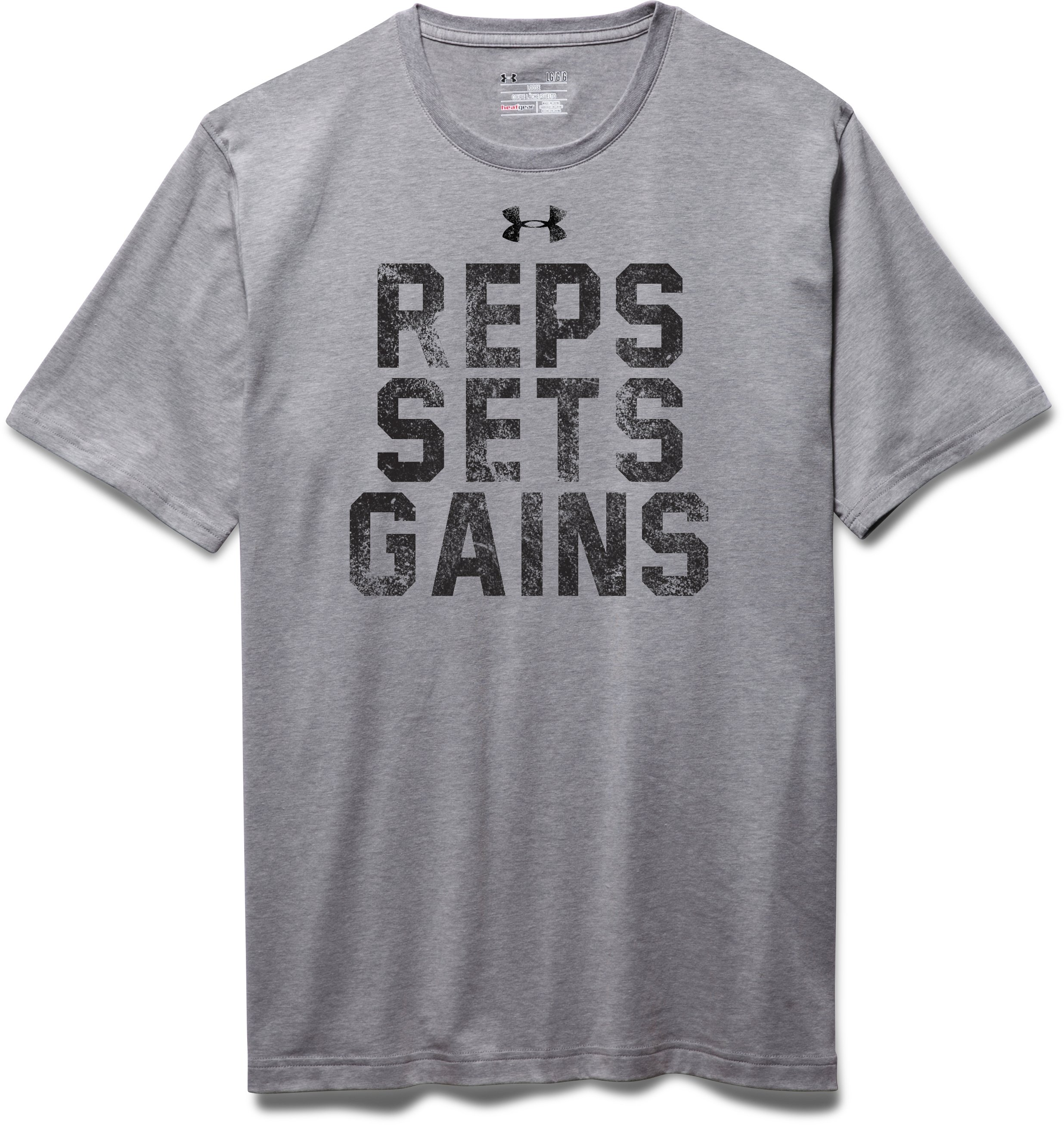 Men's UA Reps, Sets, Gains T-Shirt, True Gray Heather, Laydown