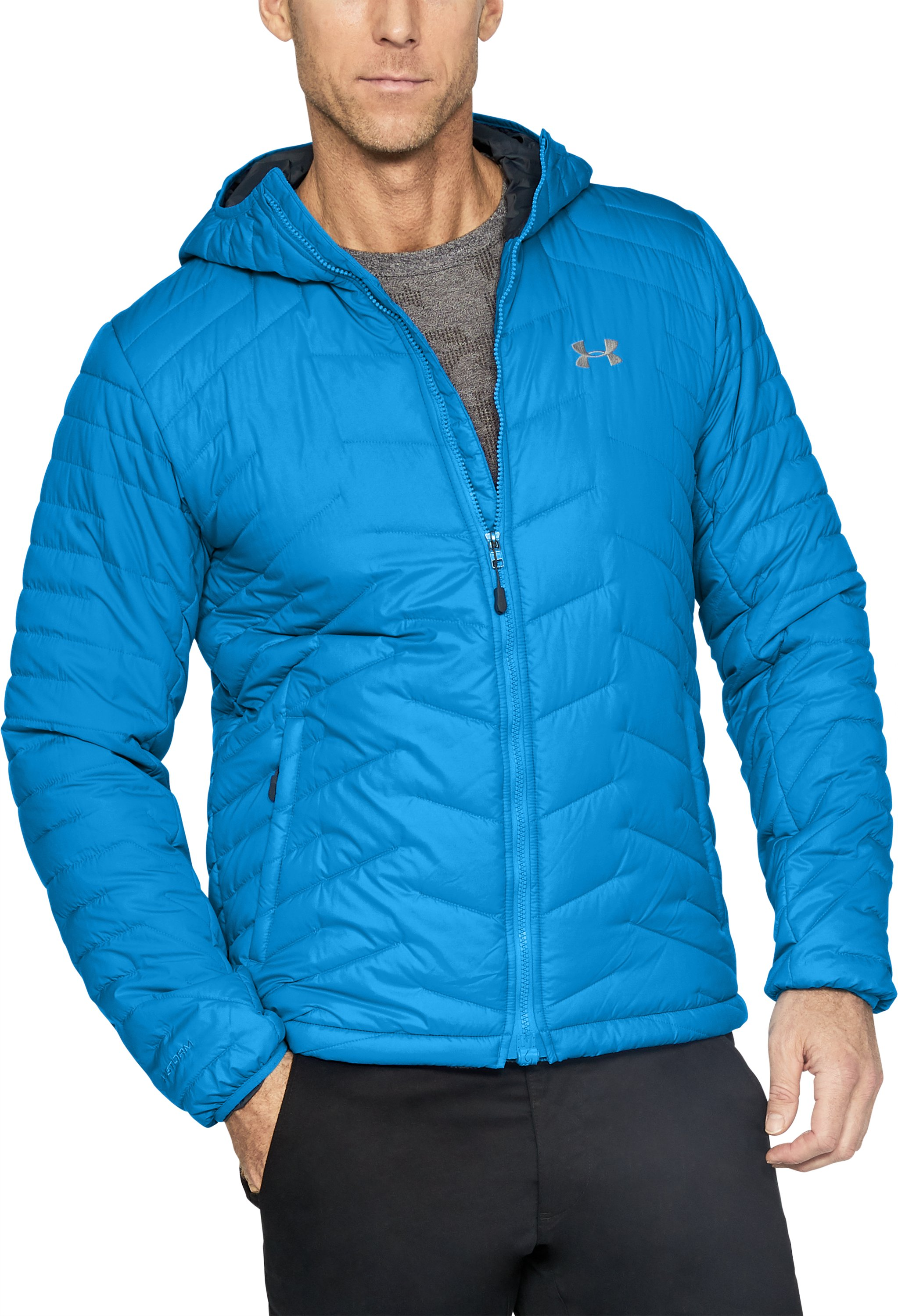 Men's ColdGear® Reactor Hooded Jacket, MAKO BLUE