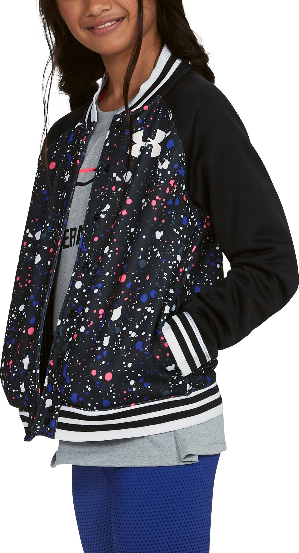 Girls' Armour Fleece® Bomber, Black ,