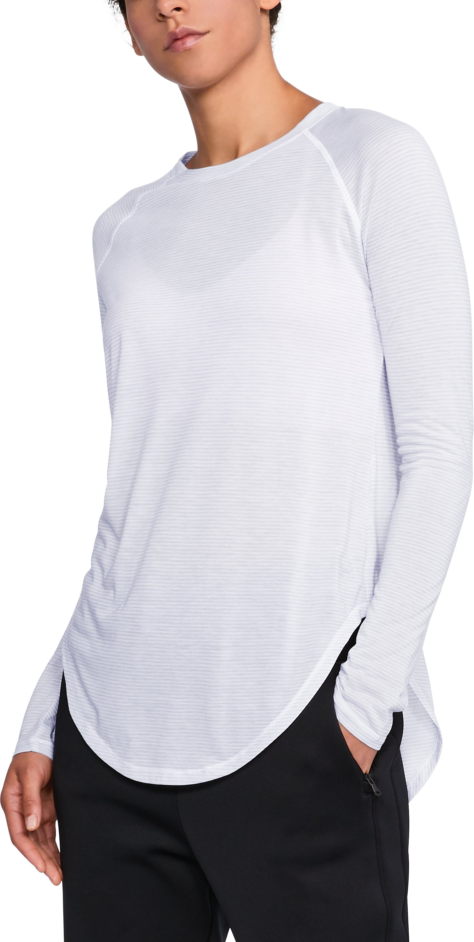 Women's UA Breathe Stripe Open Back Top, AIR FORCE GRAY HEATHER,