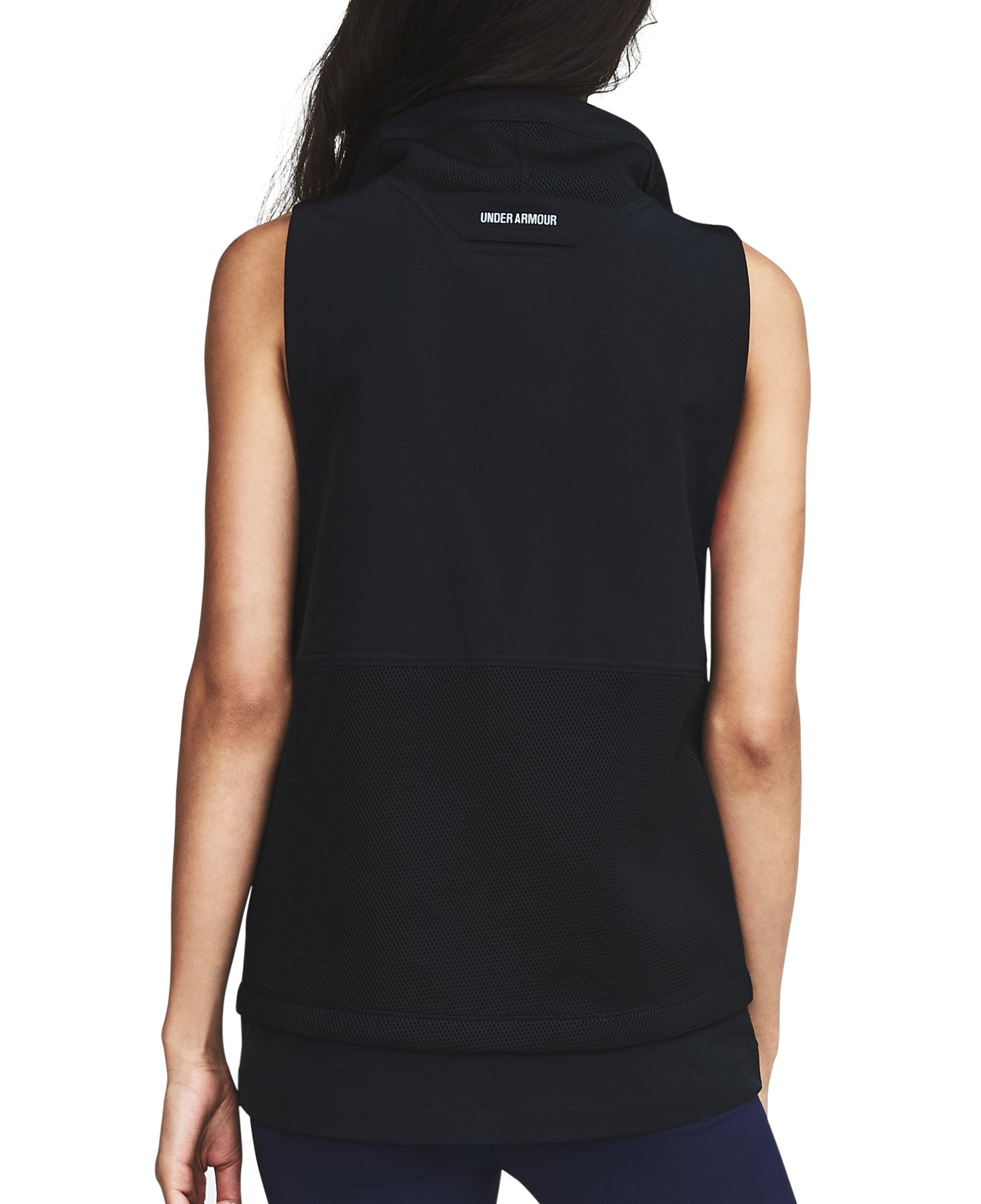 Women's UA Mixed Media Woven Vest, Black , undefined