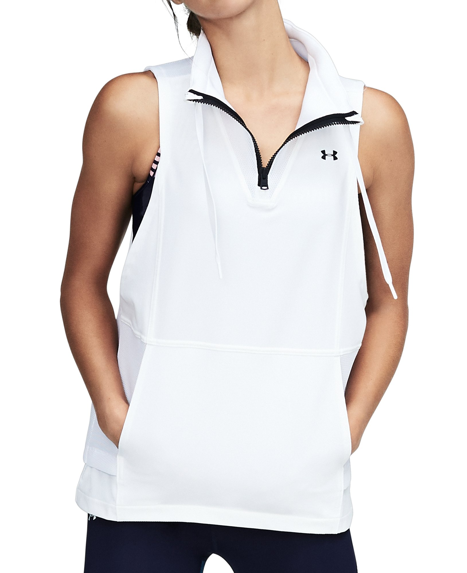 Women's UA Mixed Media Woven Vest, White