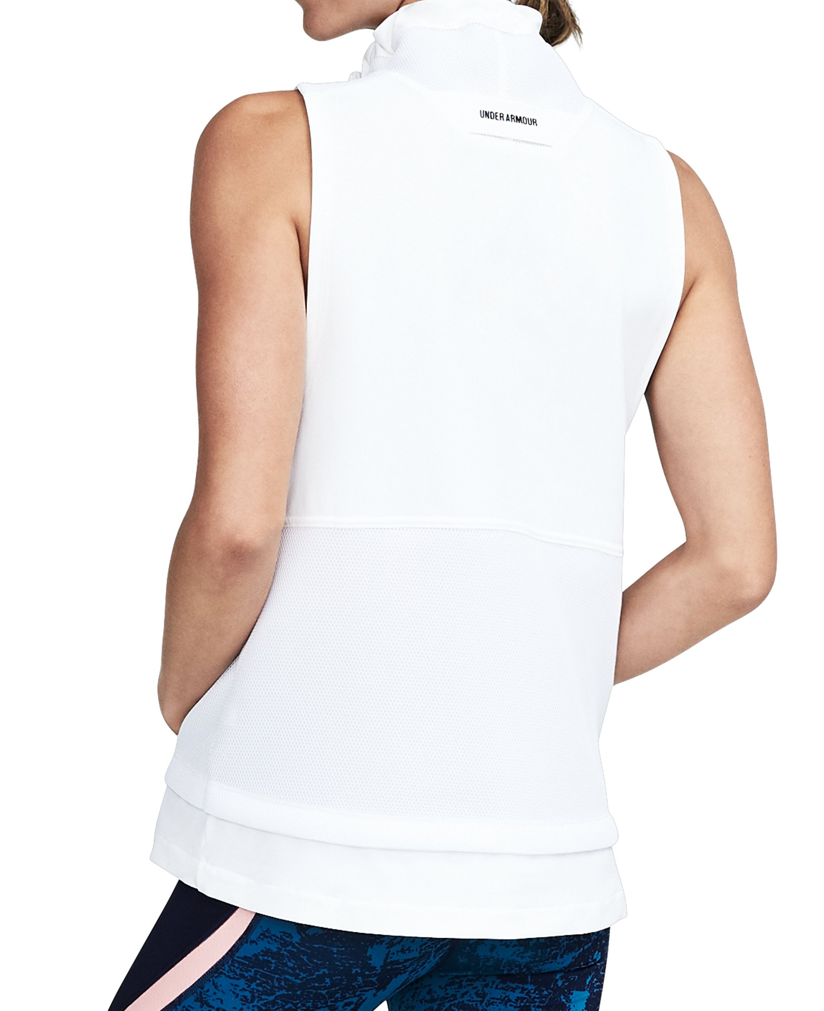Women's UA Mixed Media Woven Vest, White, undefined