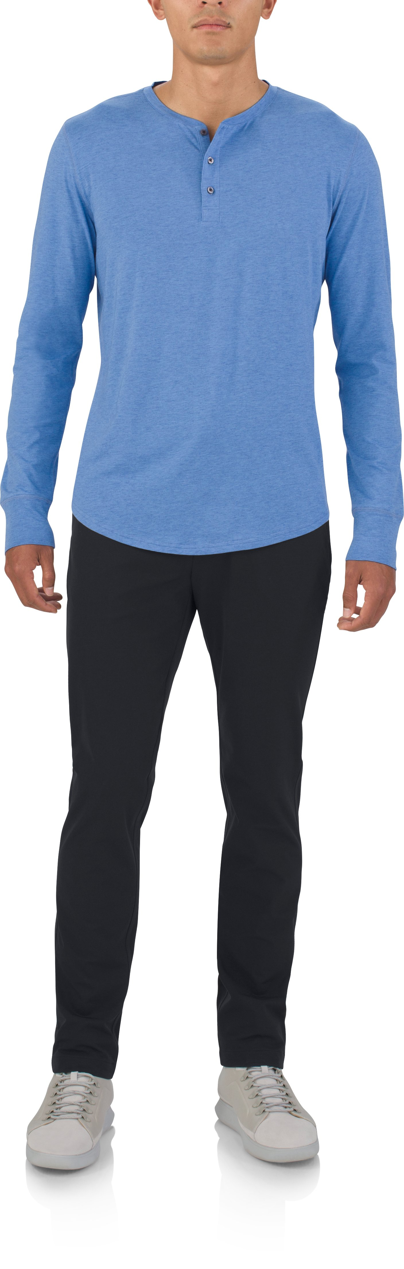 Men's UAS Highline Cashmere-Cotton Long Sleeve Henley, ROYAL LIGHT BLUE, Front