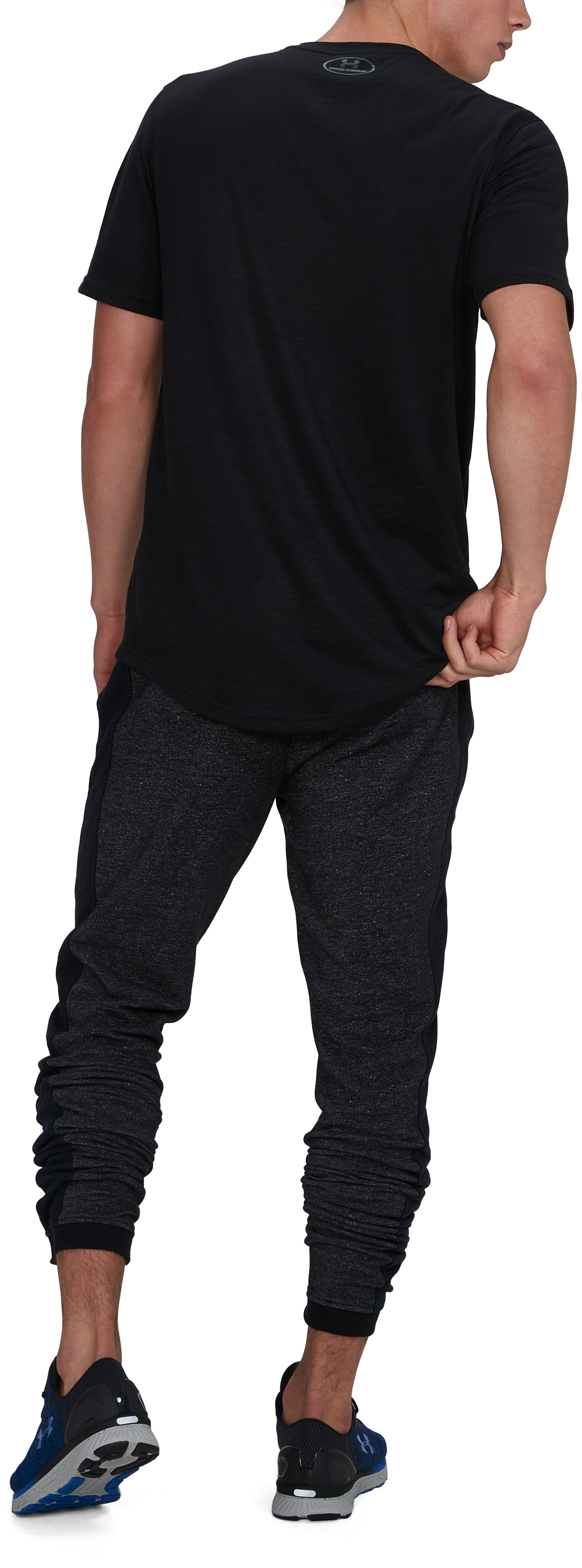 Men's UA Sportstyle Stacked Terry Joggers, Black , undefined