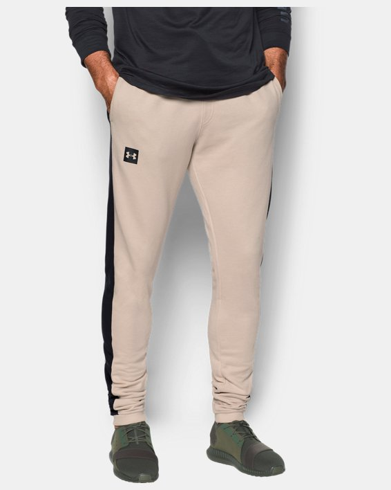 Men's UA Sportstyle Stacked Terry Joggers, Brown, pdpMainDesktop image number 0