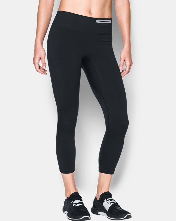 Women's UA Threadborne™ Seamless Crop, Black, pdpMainDesktop image number 0