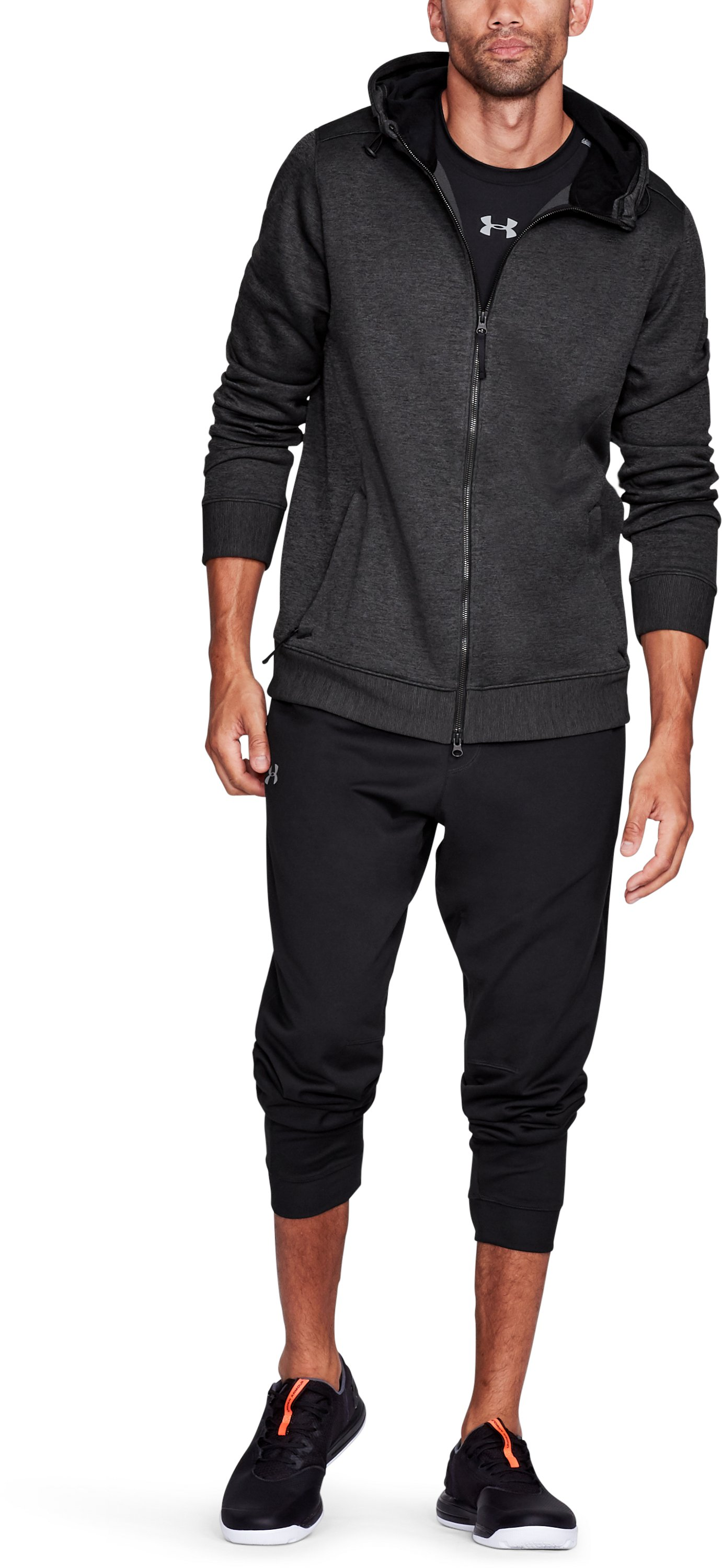 Men's UA Sportstyle SweaterFleece Full Zip, Black ,