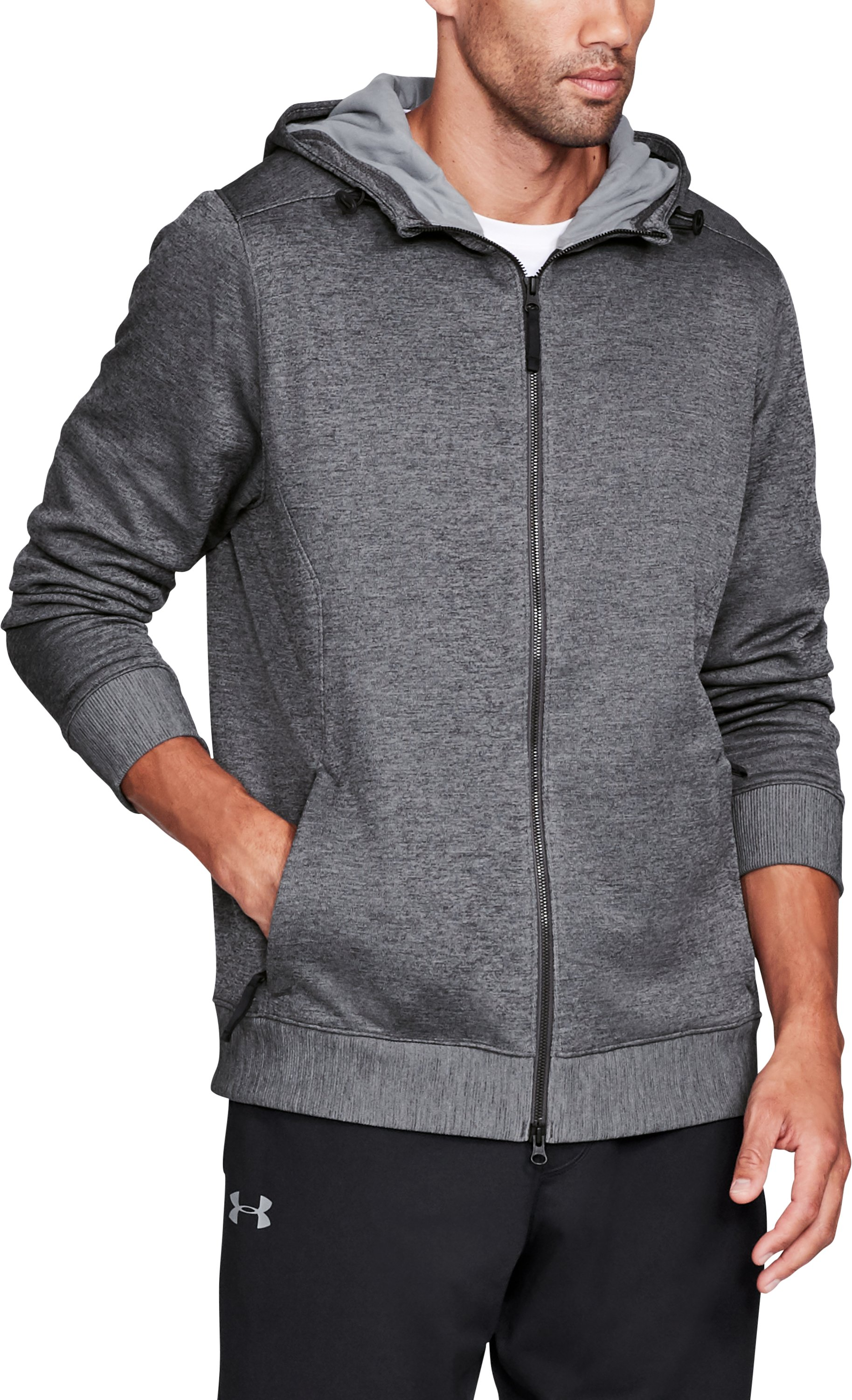 Men's UA Sportstyle SweaterFleece Full Zip, Carbon Heather, undefined
