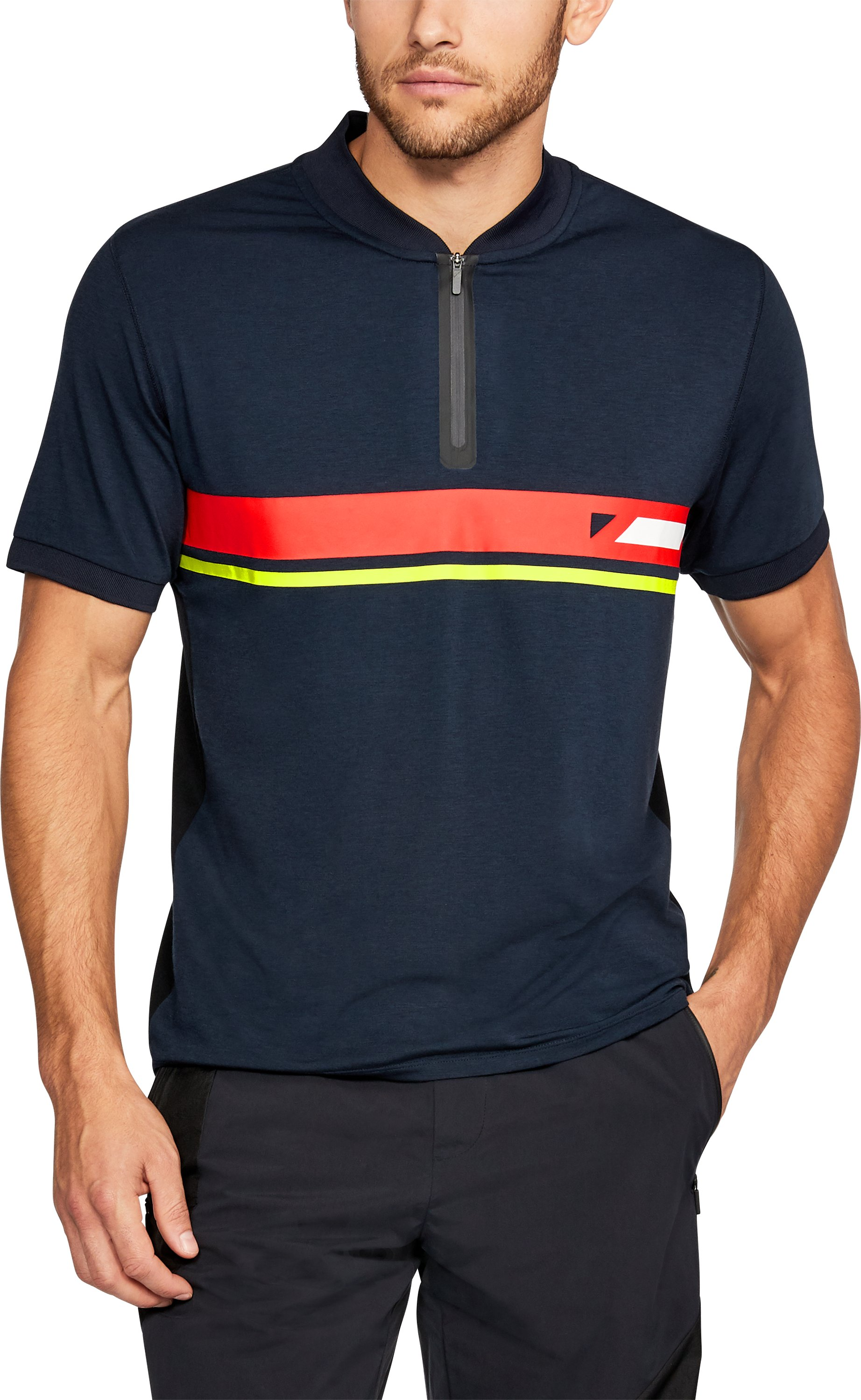 Men's UAS Tech Zip Stripe Polo, Navy, undefined