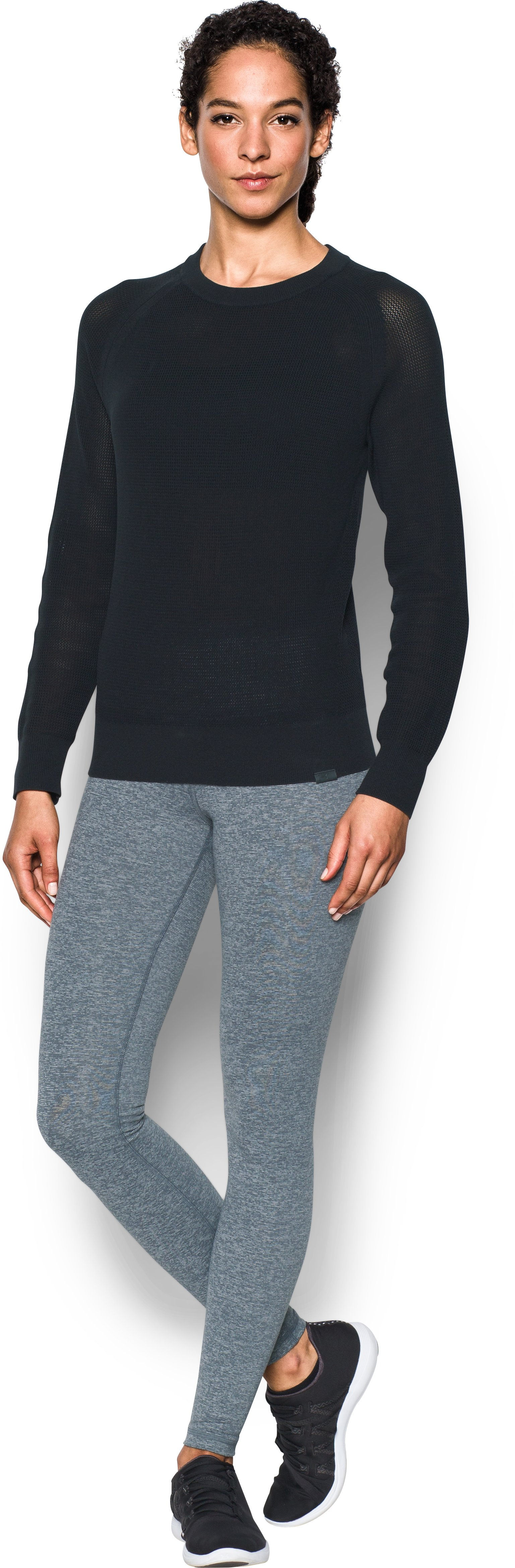Women's UA Sweater Crew, Black , Front
